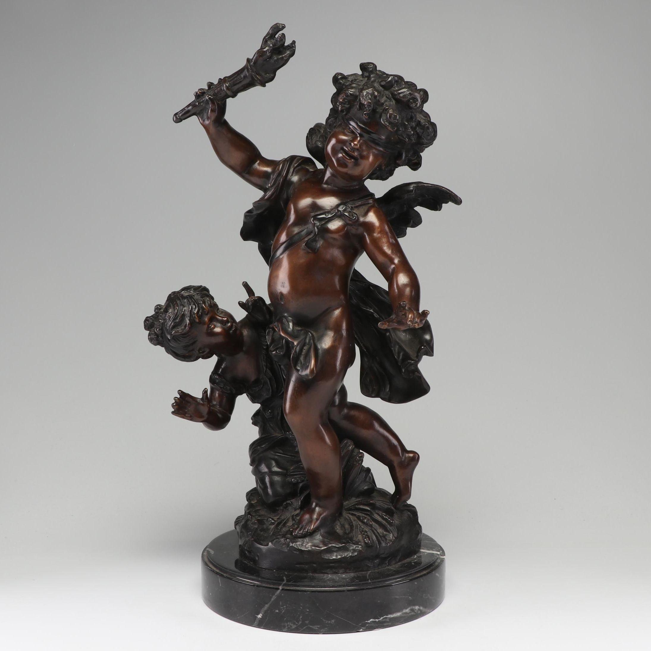 Bronze Cherub Statue on Marble Base