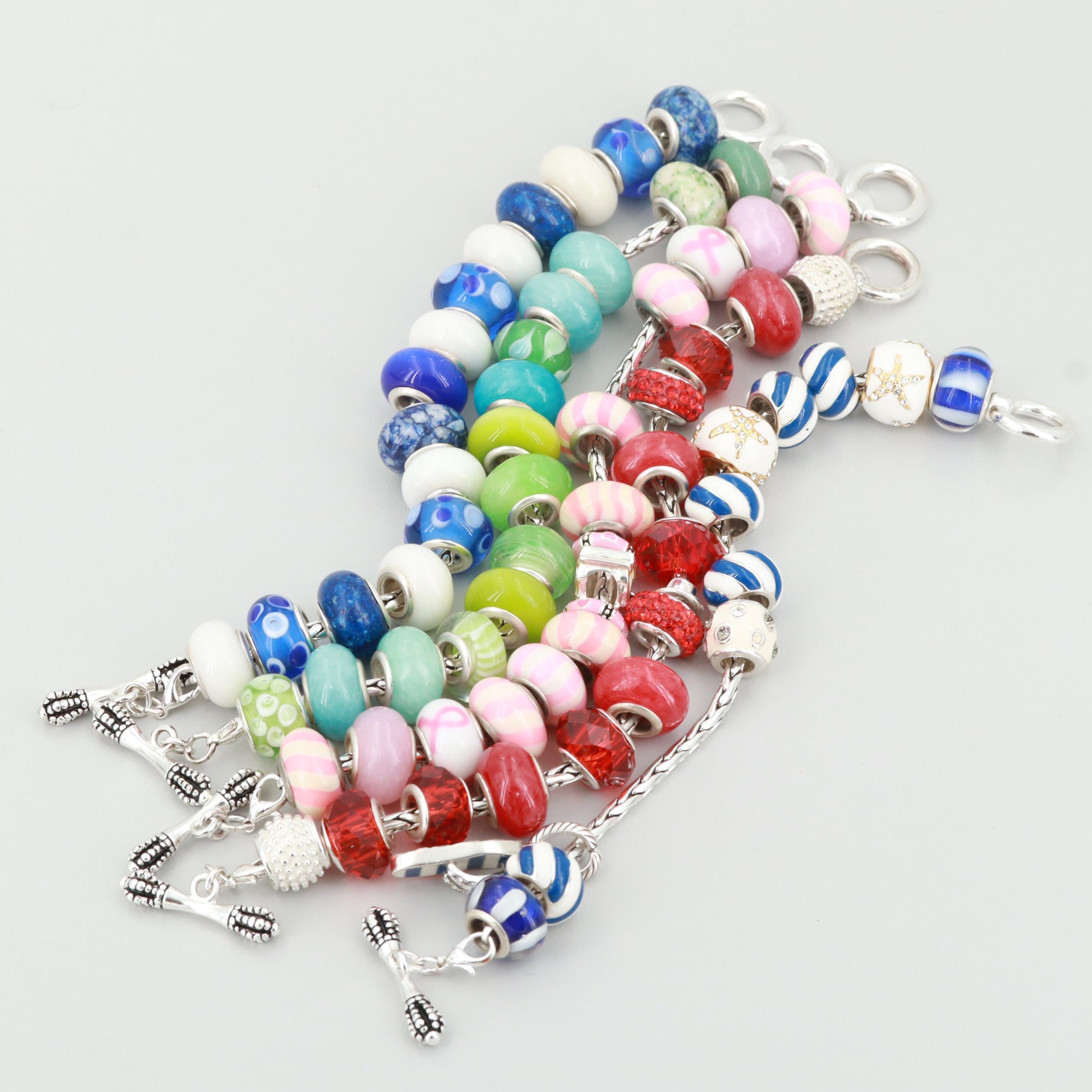 Silver Tone Glass Bead Charm Bracelets