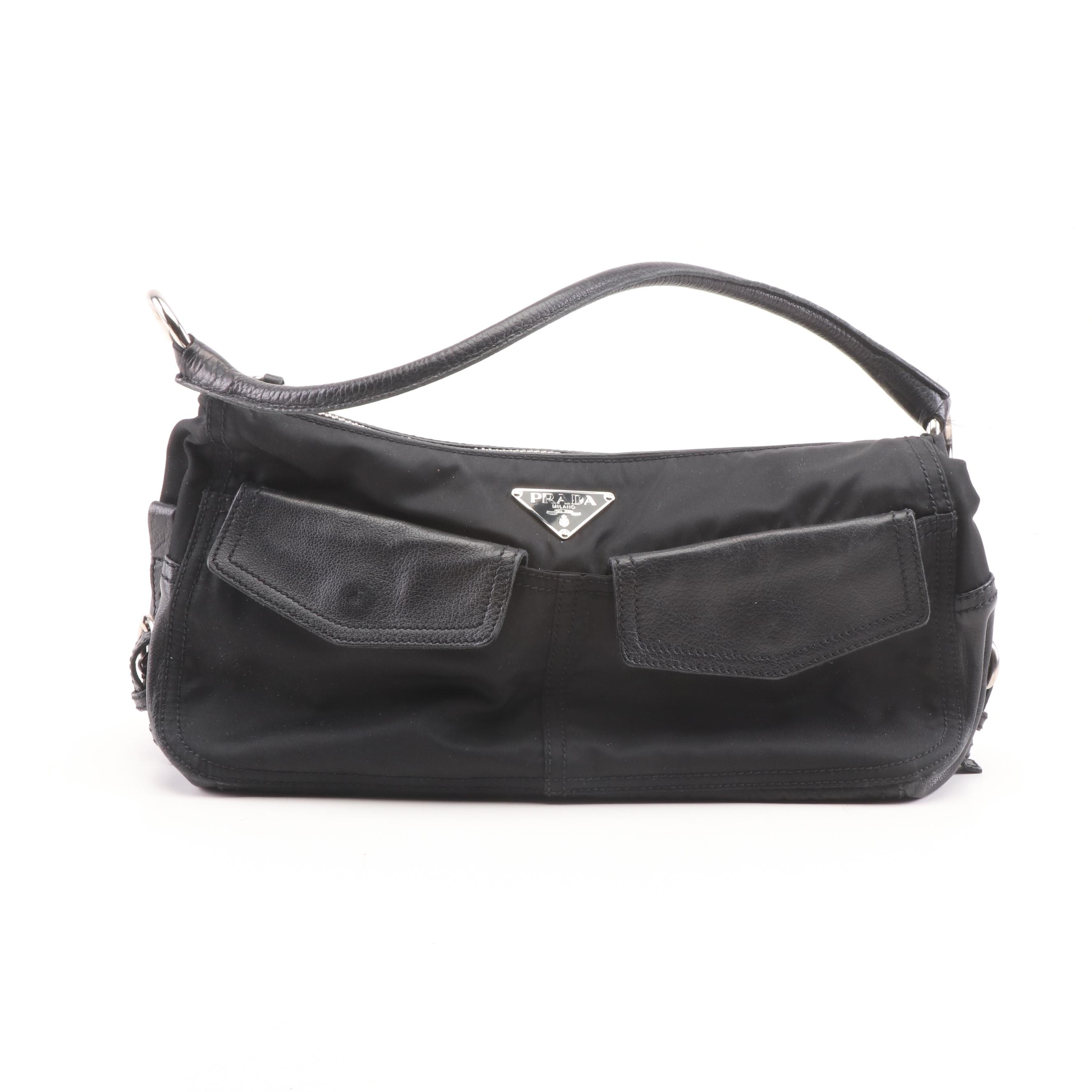 Prada Black Nylon and Leather Baguette Shoulder Bag