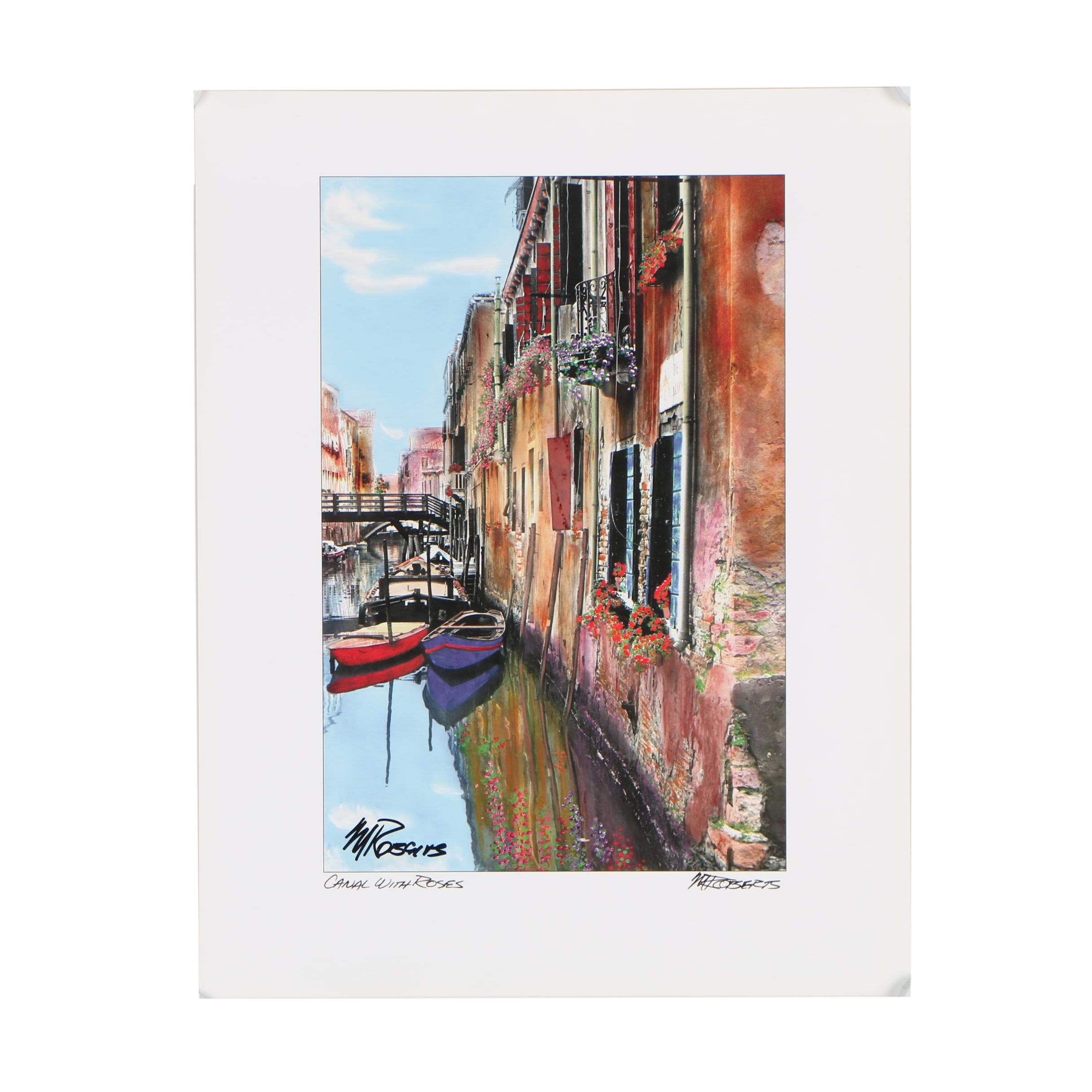 """Martin Roberts Offset Lithograph After Photograph """"Canal with Roses"""""""