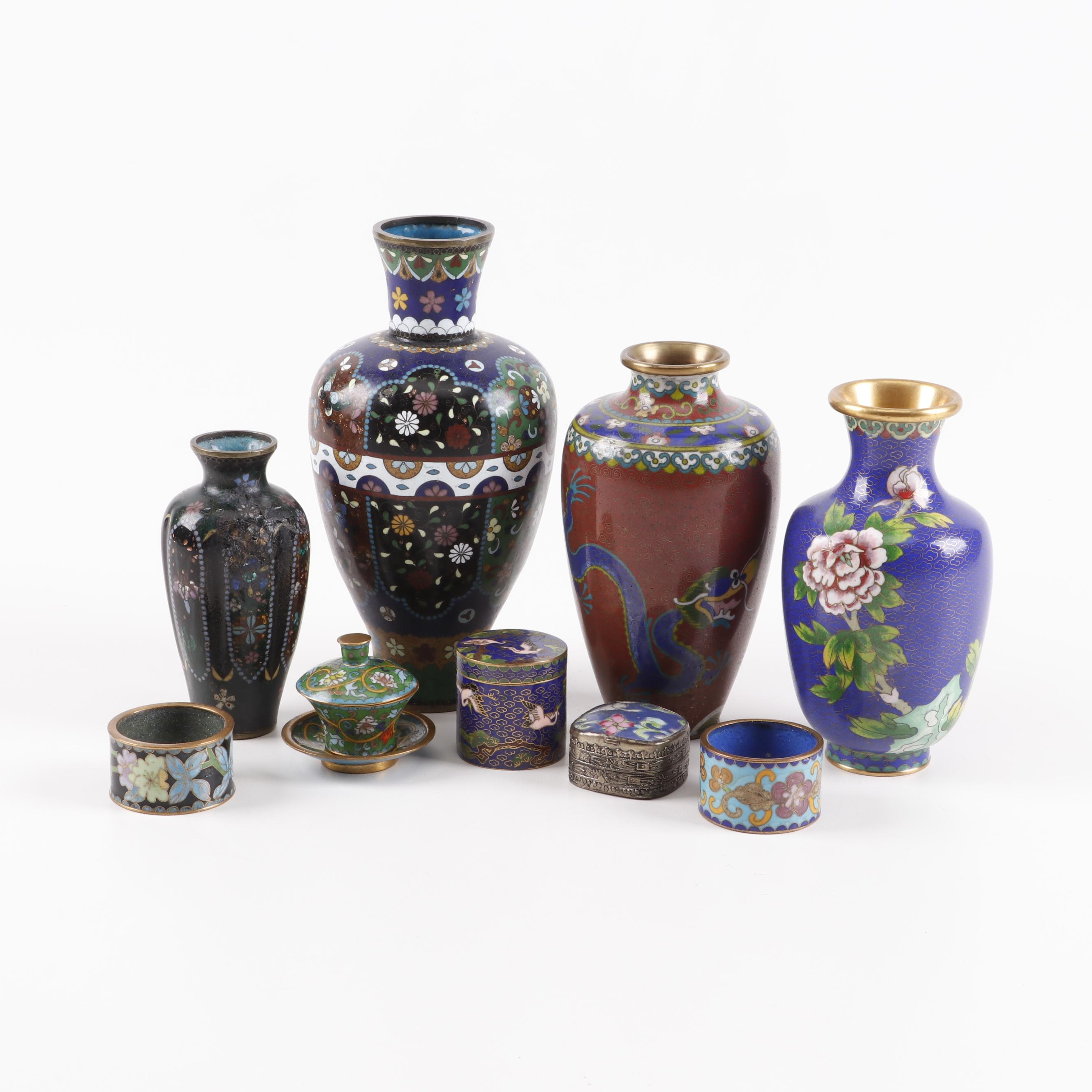 Chinese and Japanese Cloisonné Vases, Decorative Boxes, and Napkin Rings