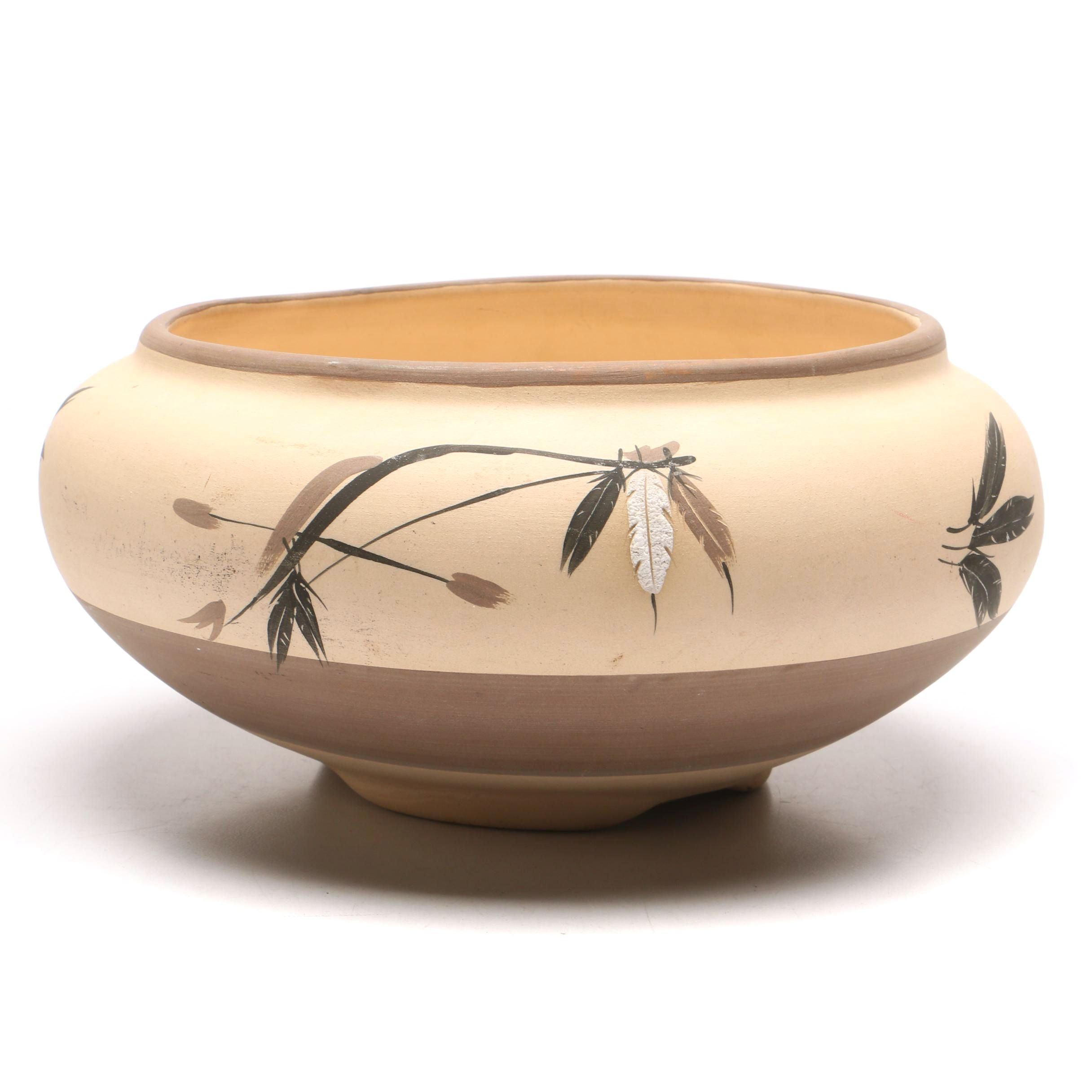 """""""Three Feathers"""" Earthenware Bowl"""