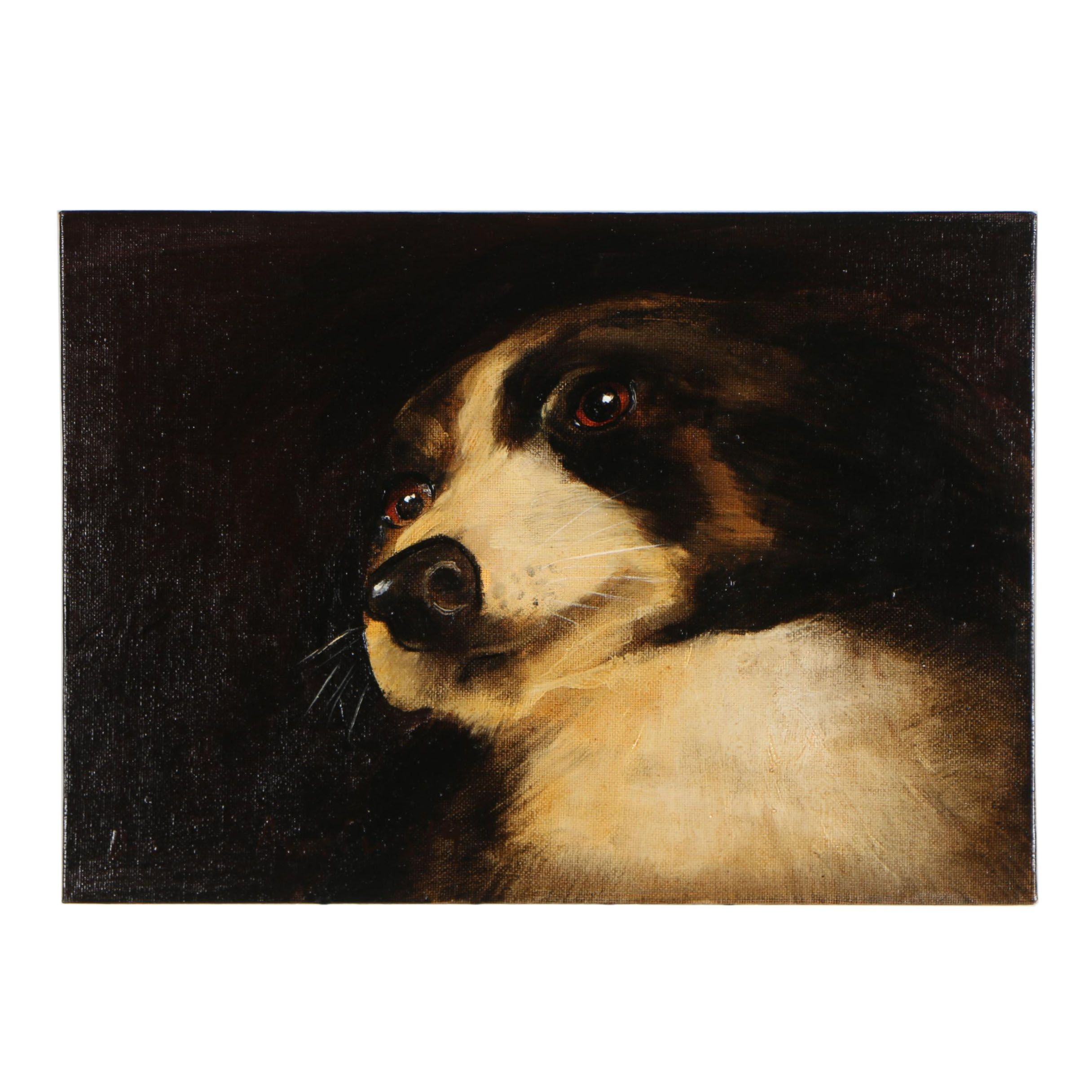 David Andrews Oil Painting Border Collie Dog