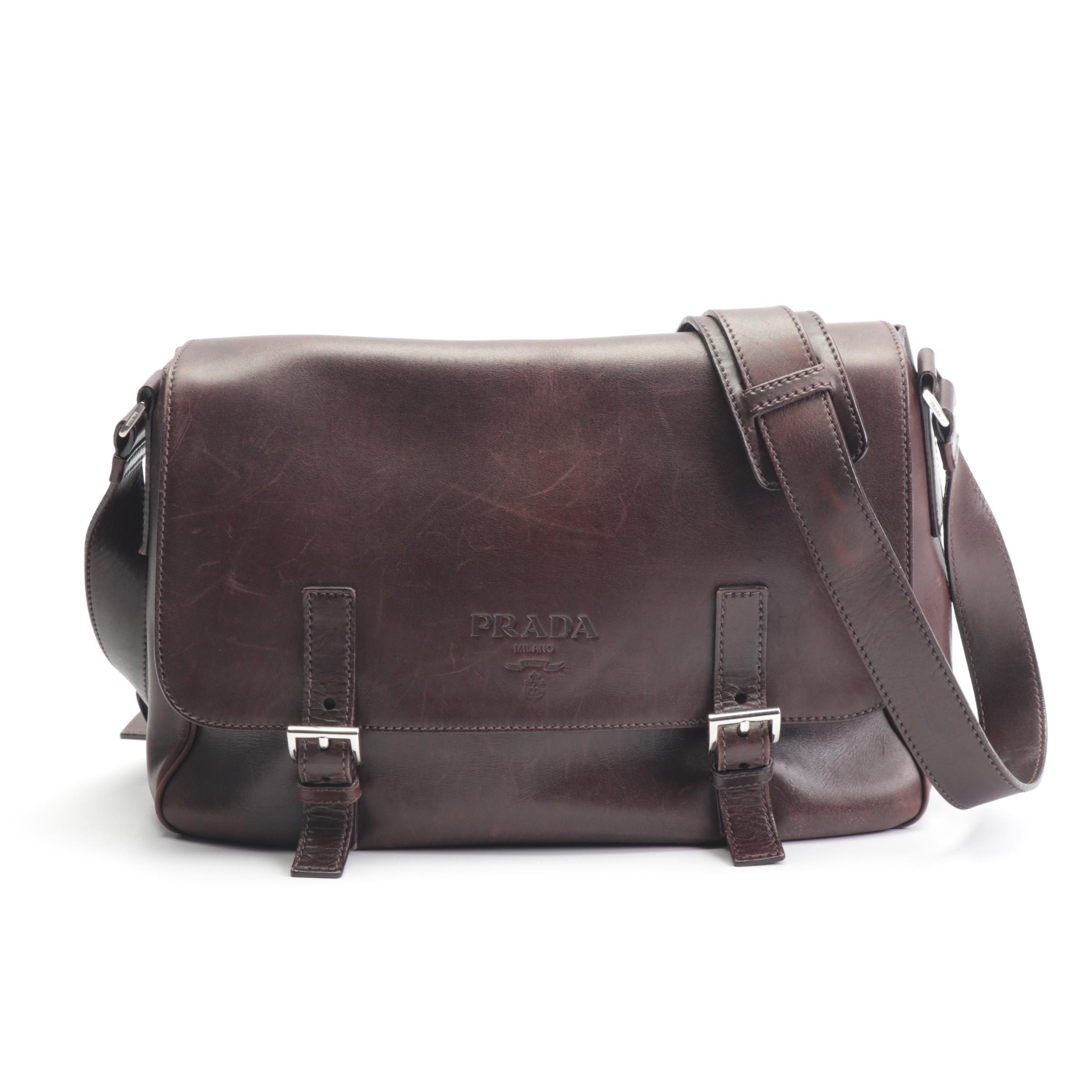 Prada Brown Leather Flap Front Crossbody Bag, Made in Italy