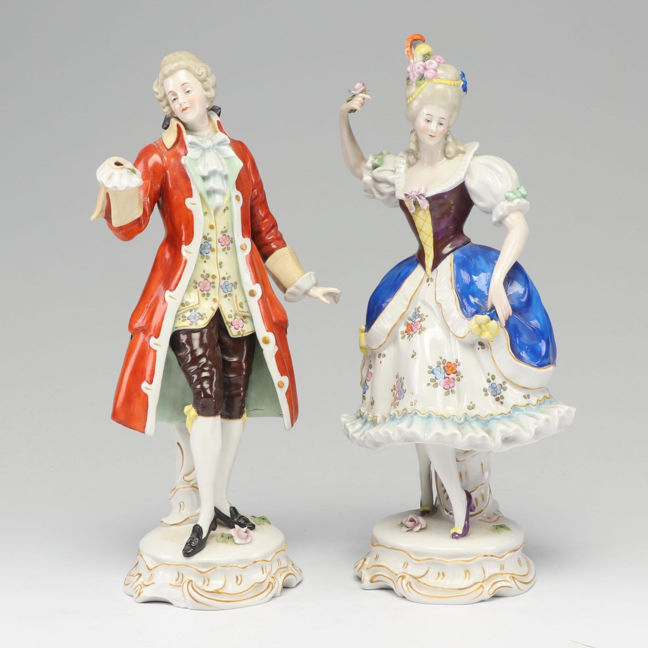 Hand Decorated German Porcelain Figurines, Early to Mid 20th Century