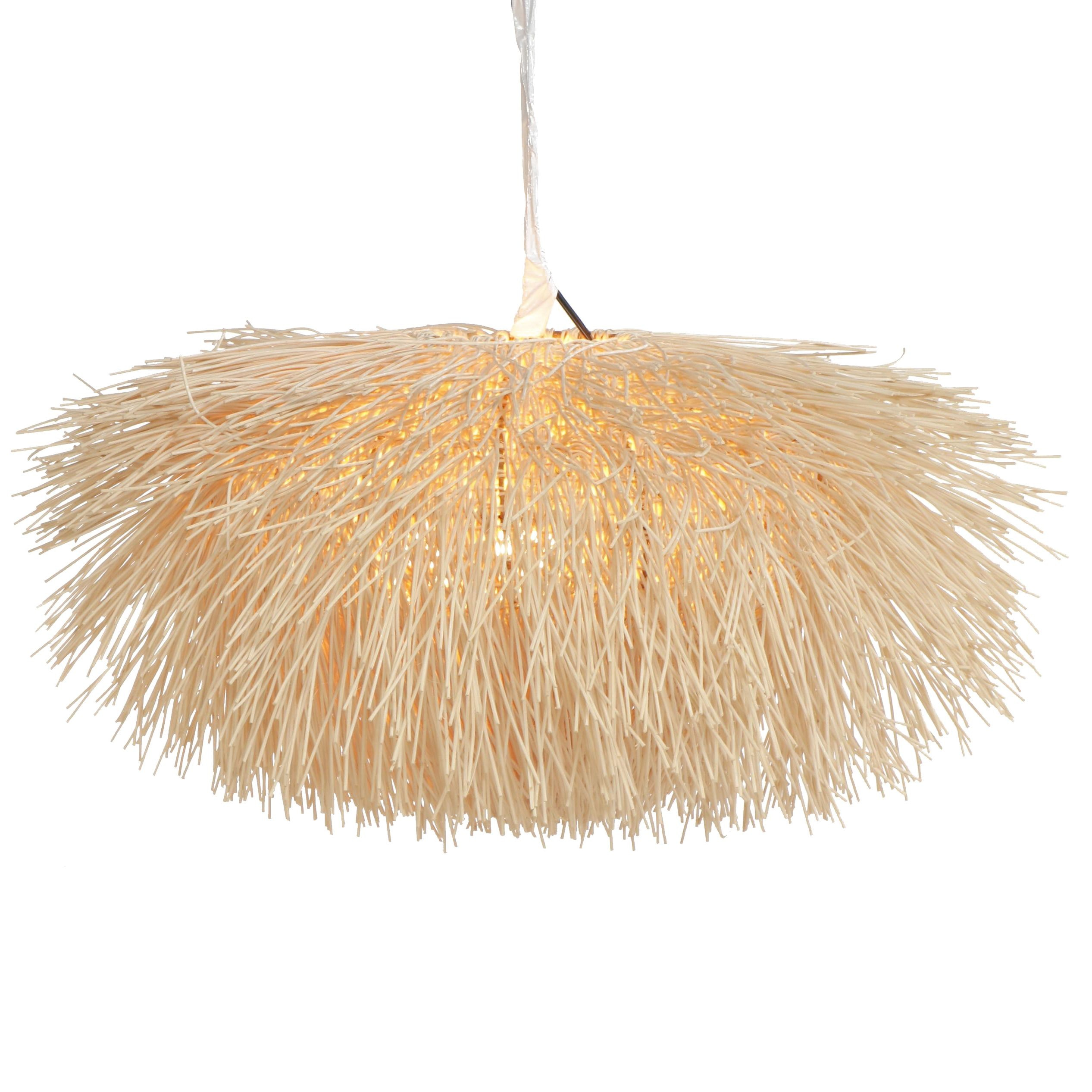Woven Wood Sea Urchin Style Light Fixture Attributed to Coup Studio