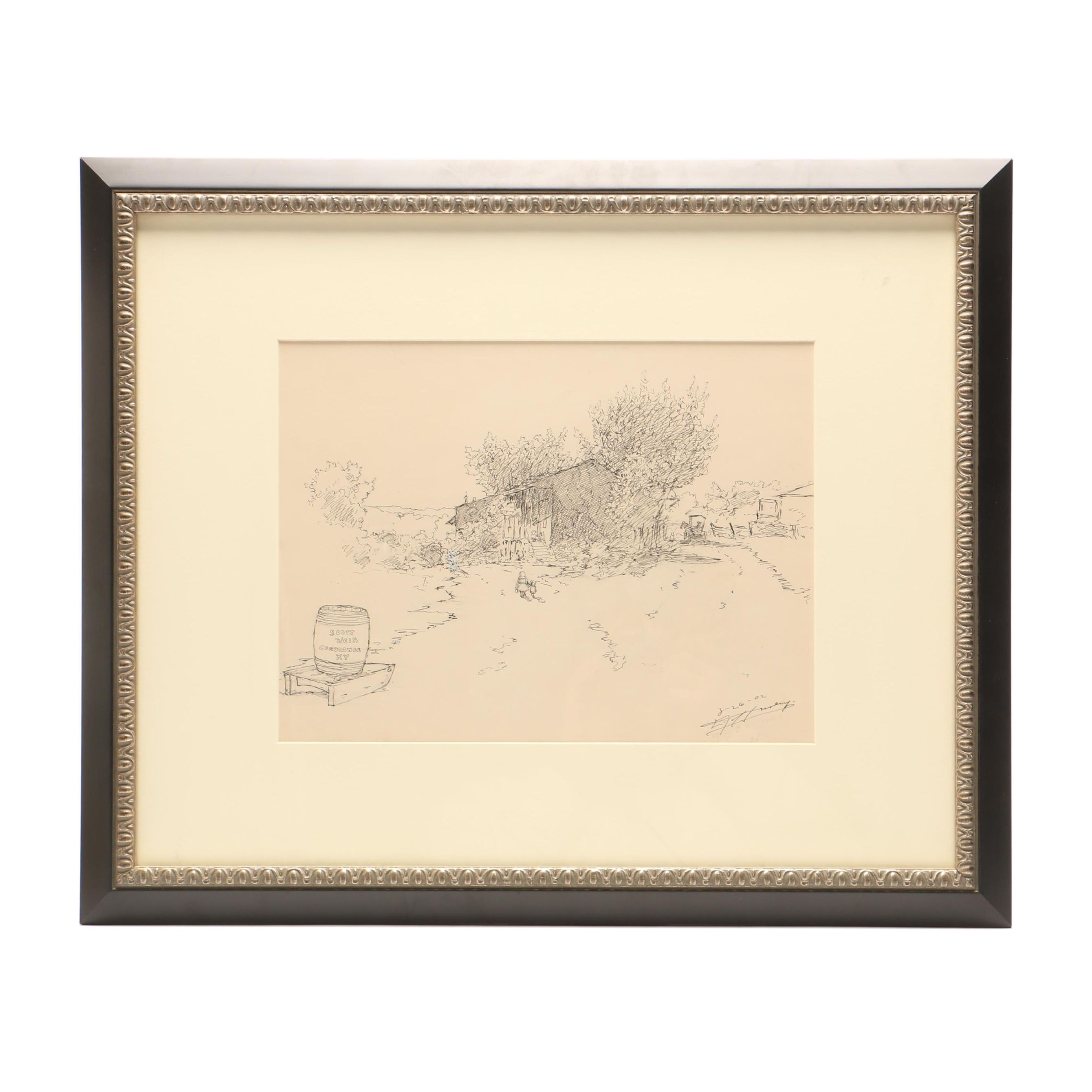 Edward T. Hurley Ink and Graphite Drawing of Scott Weir Constance KY