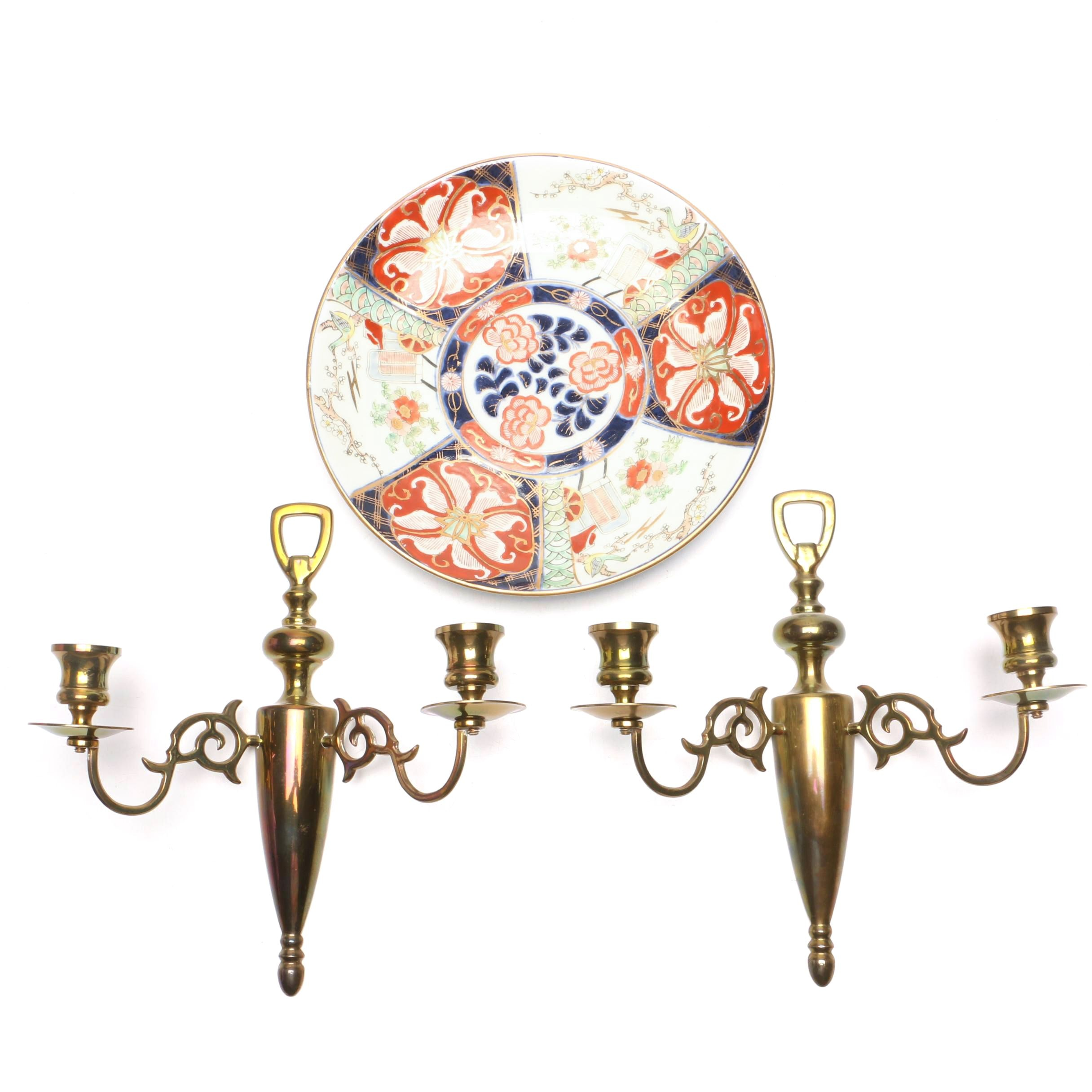 Japanese Artia Porcelain Plate with Brass Candle Sconces