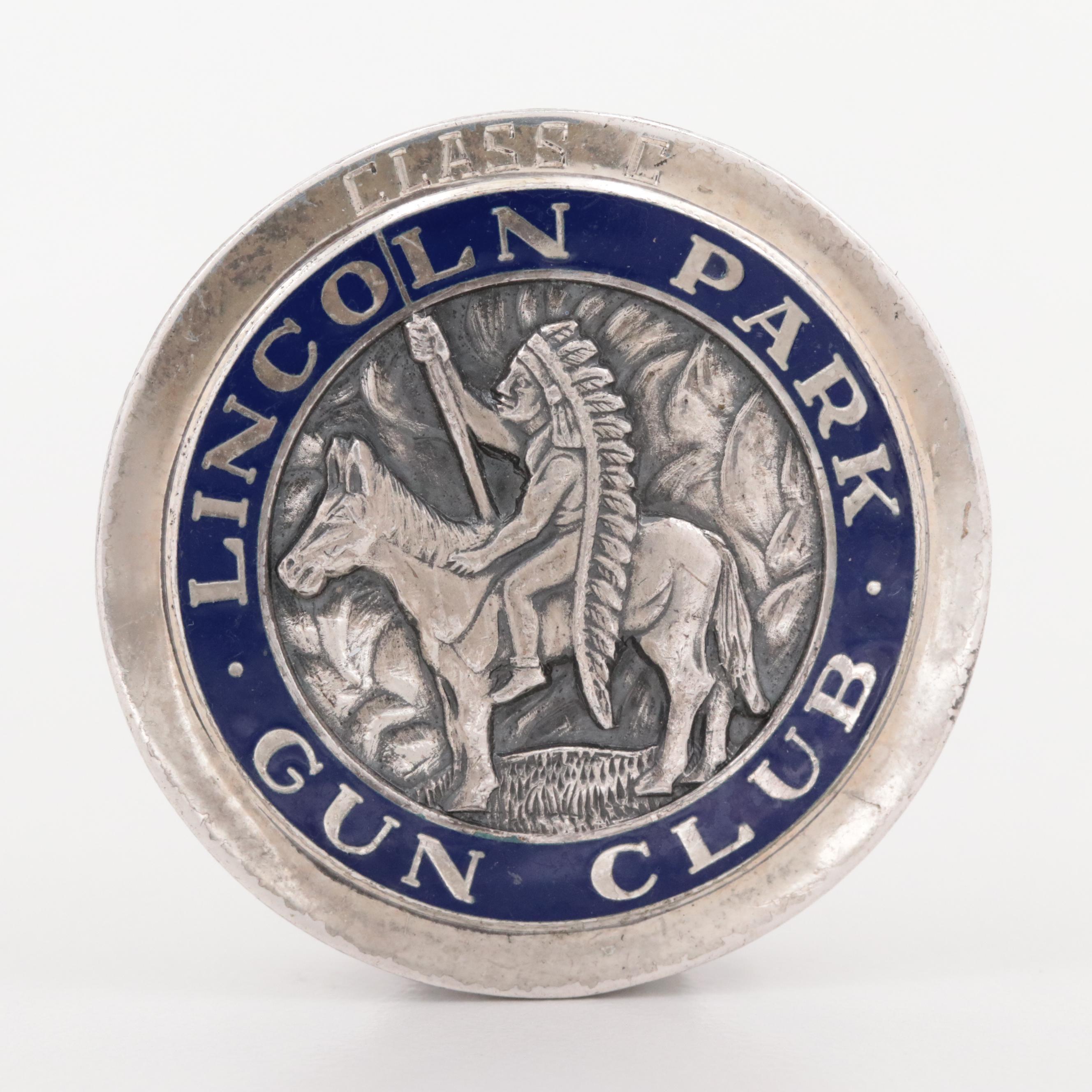 Vintage Sterling Silver Vitreous Enamel Lincoln Park Gun Club Pin