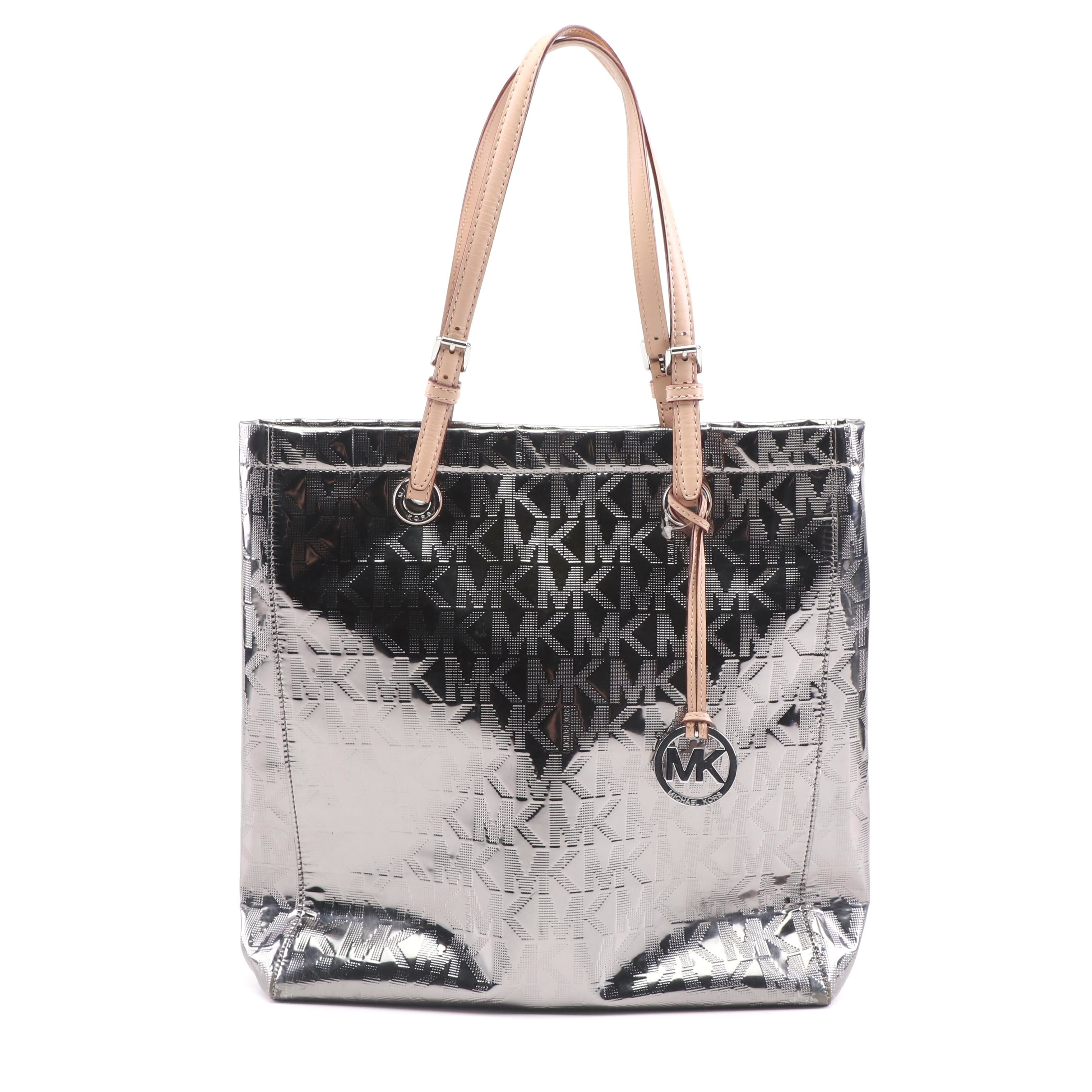 MICHAEL Michael Kors Metallic Tote Bag with Leather Handles