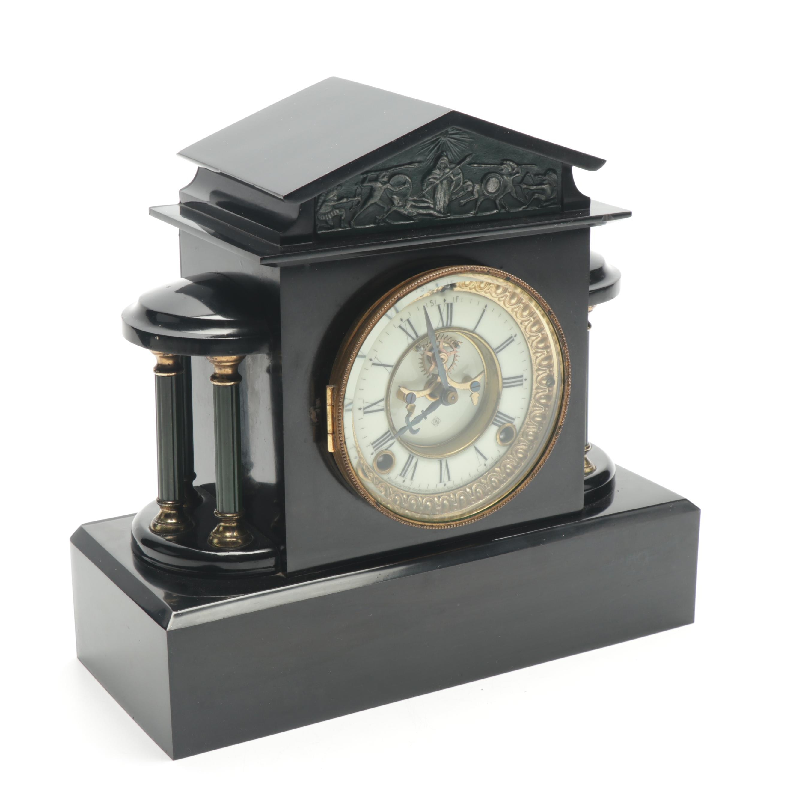 "Ansonia Clock Co. ""Ormonde"" Enameled Cast Iron Mantel Clock, circa 1914"