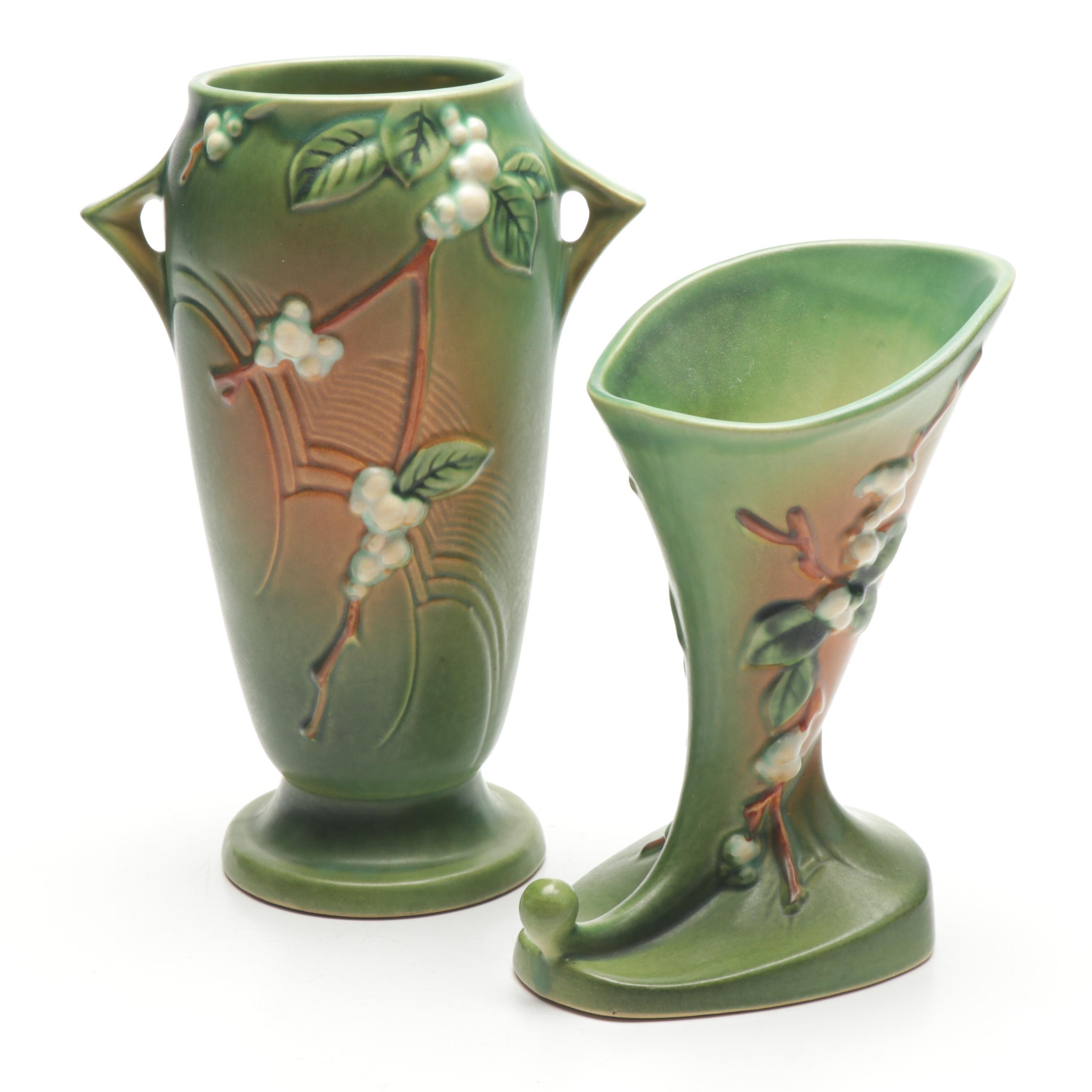 "Roseville Pottery ""Snowberry"" Green Vase and Cornucopia Vase, 1940s"