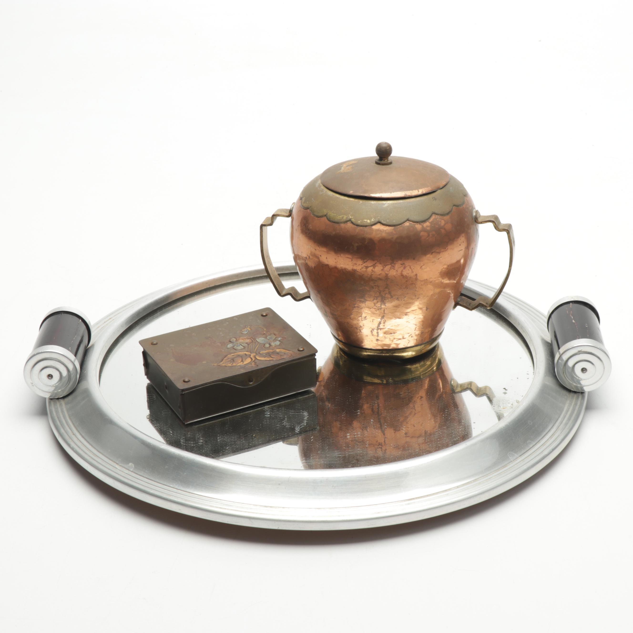 Dinanderie Biettlot Copper Pot, Austrian Stamp Box, and Art Deco Tray