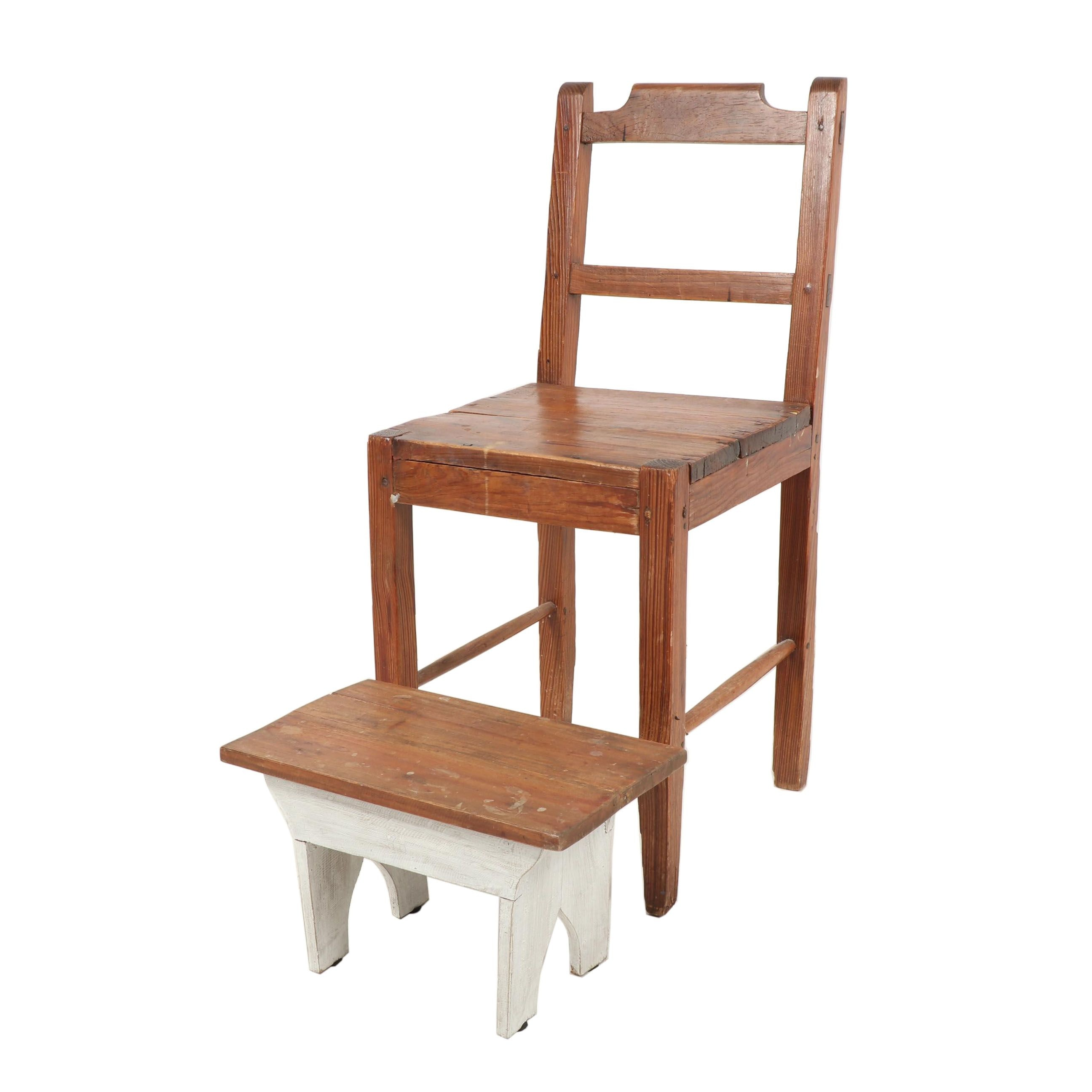 Primitive Ladderback Chair with Footstool, 19th Century