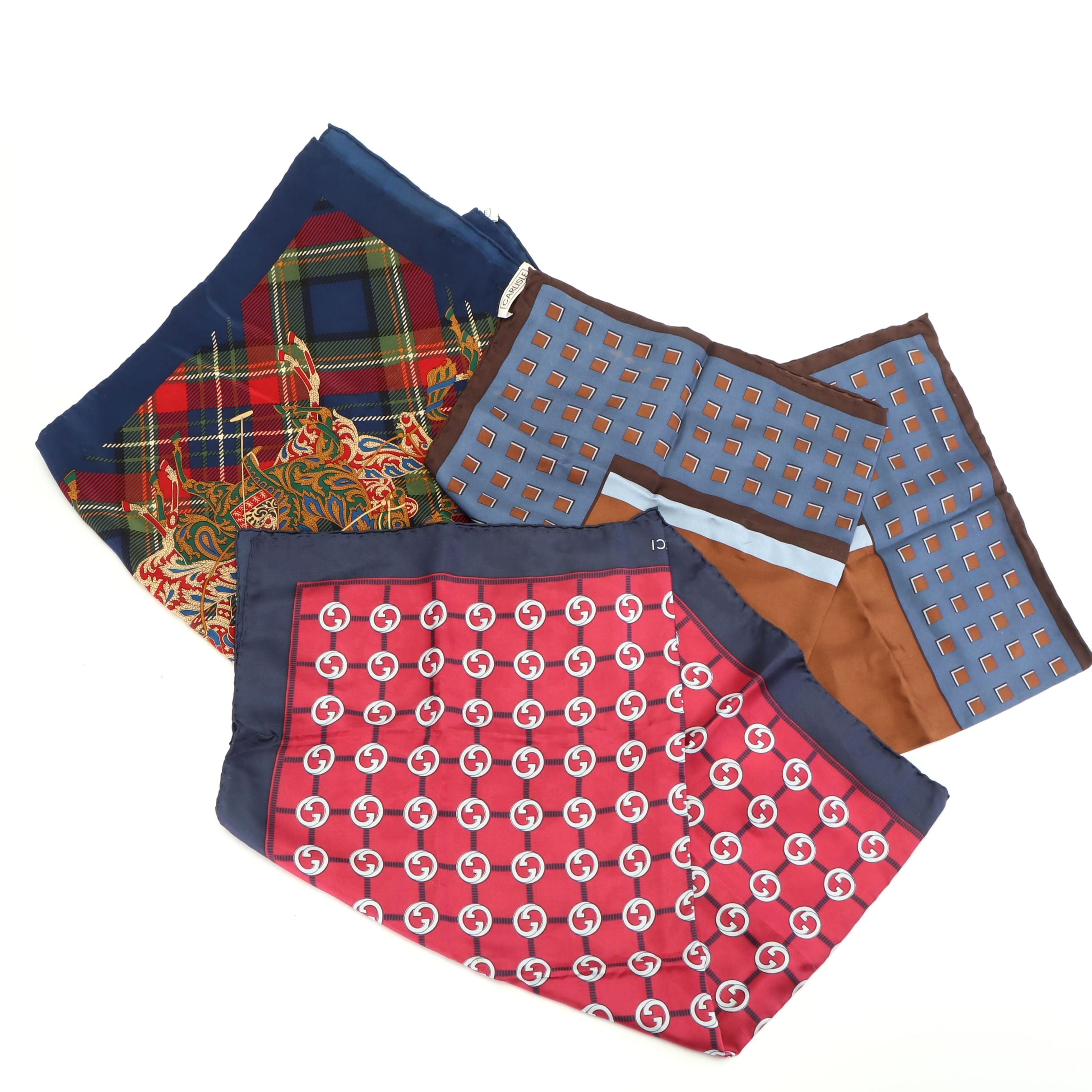 Silk Scarves Including Carlise and Gucci