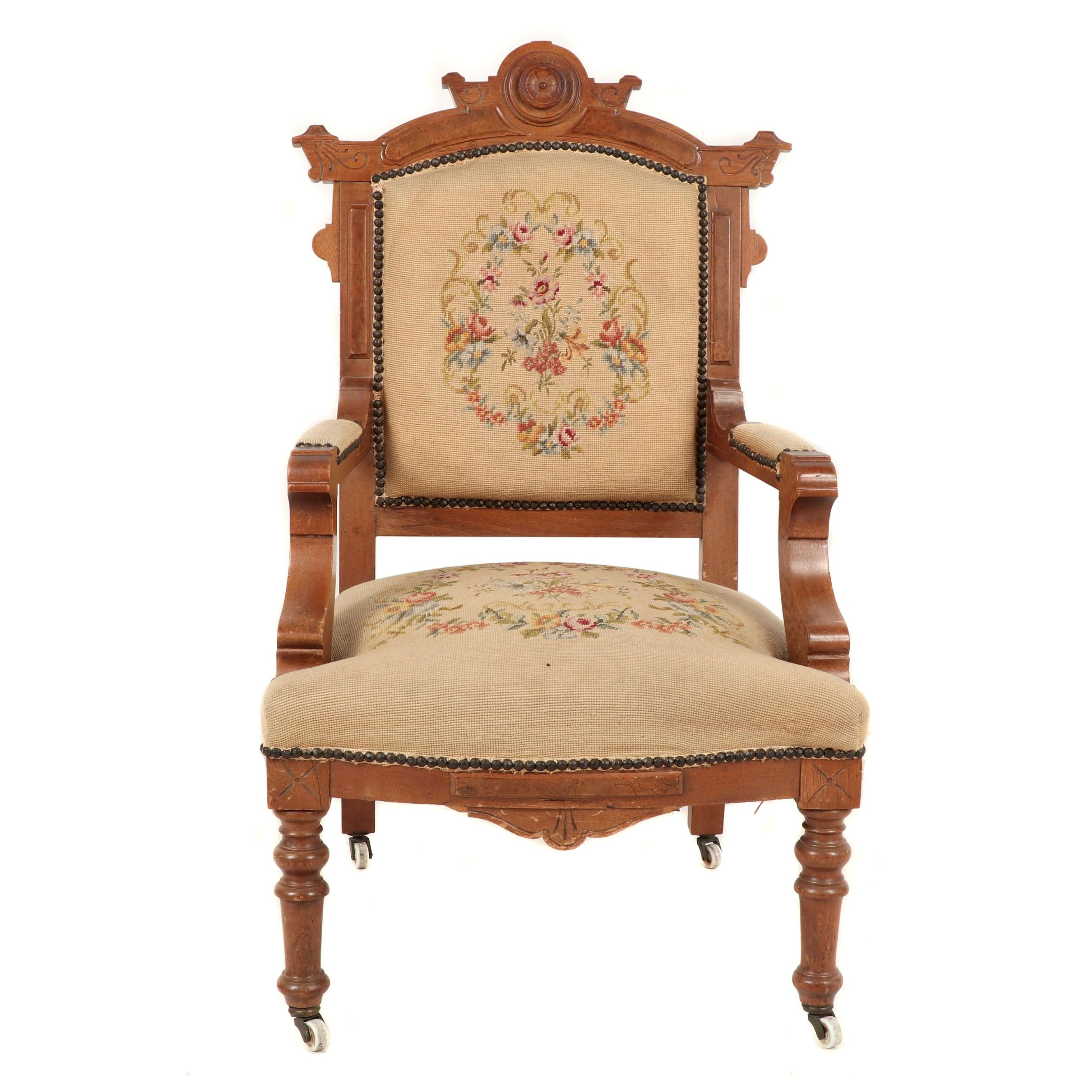 Victorian Eastlake Carved Walnut Armchair with Needlepoint Upholstery, 19th c.