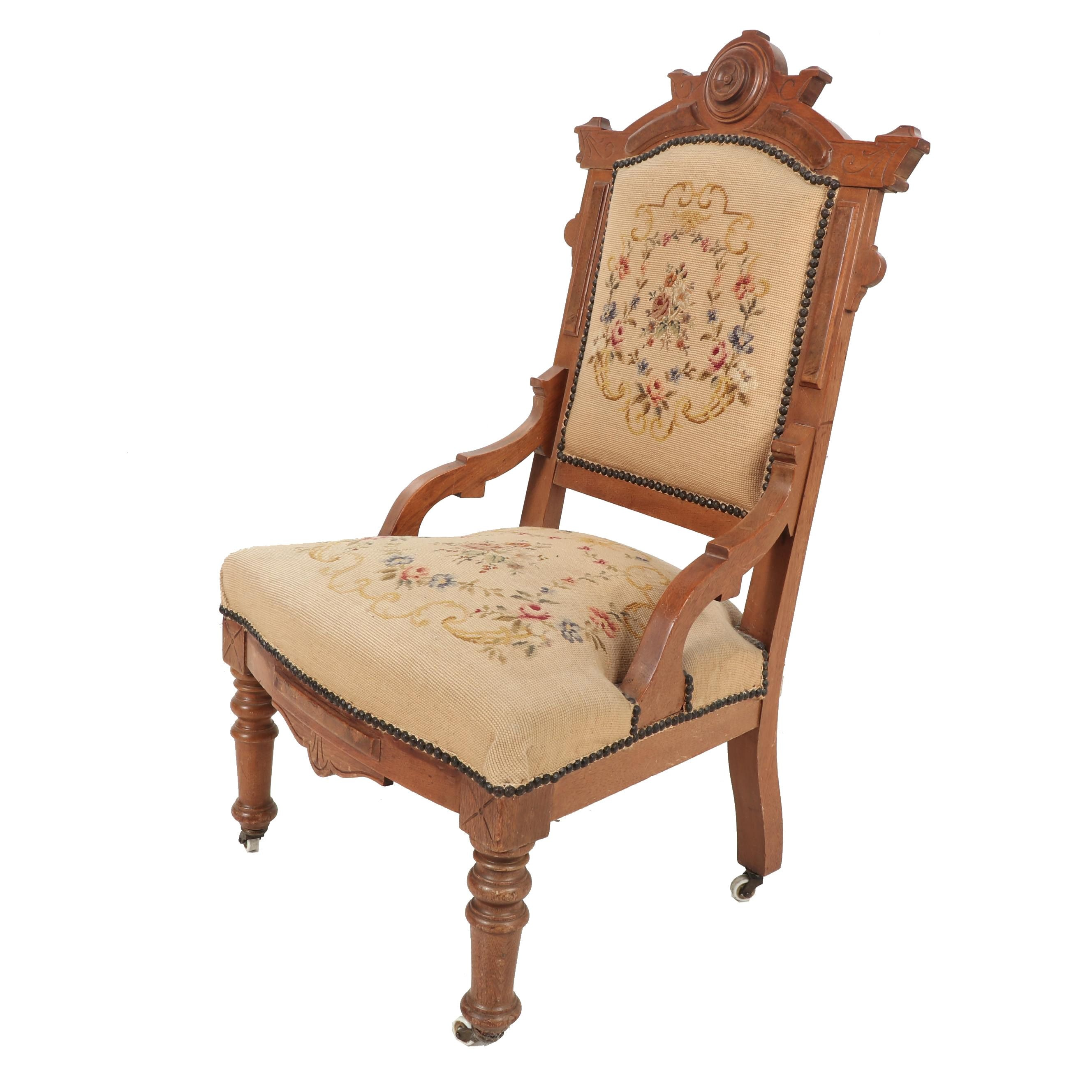 Victorian Eastlake Carved Walnut Side Chair with Needlepoint Upholstery, 19th c.