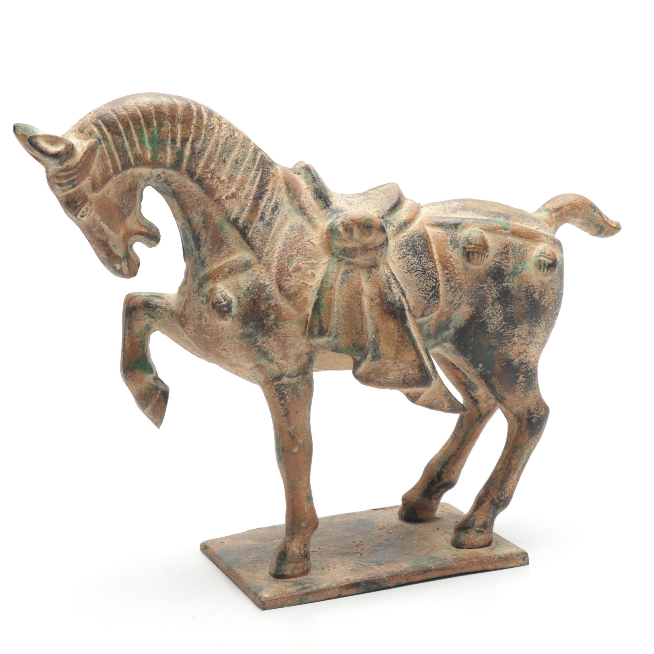 Decorative Asian Style Cast Iron Horse Figure