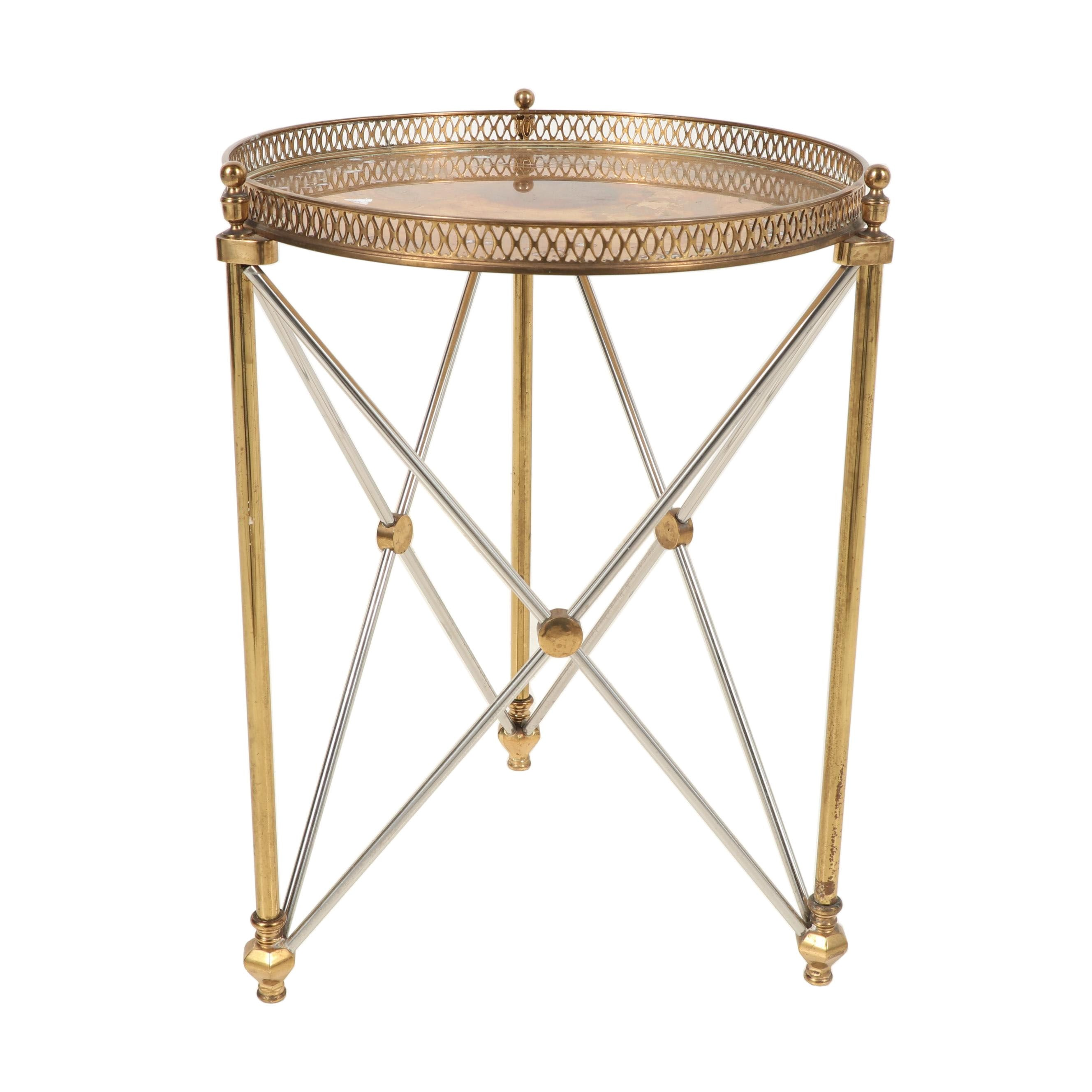 Decorative Crafts Brass and Chrome Tray Top Accent Table, 20th Century
