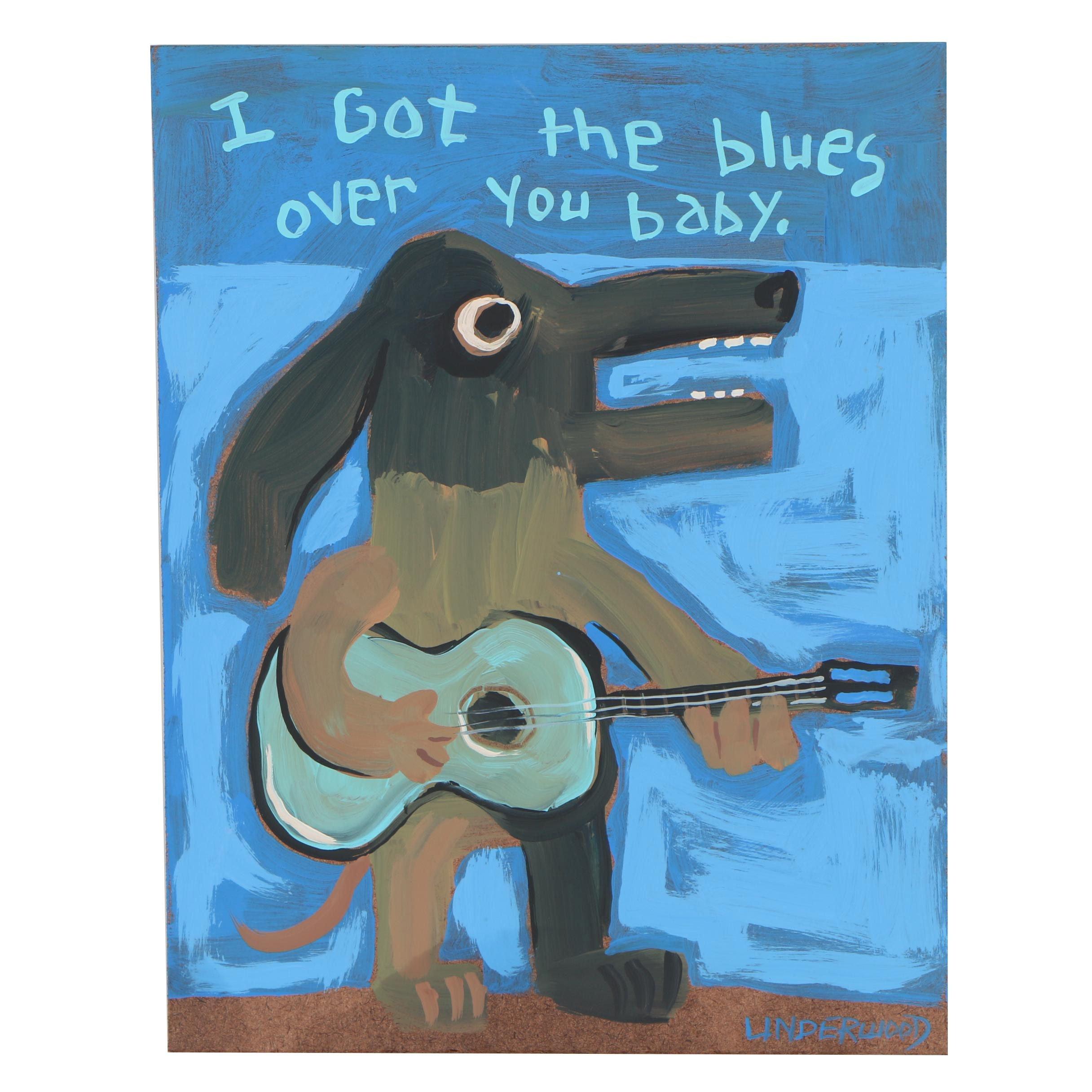 """Jackie Underwood Outsider Folk Art Acrylic Painting """"Blues Hound"""""""