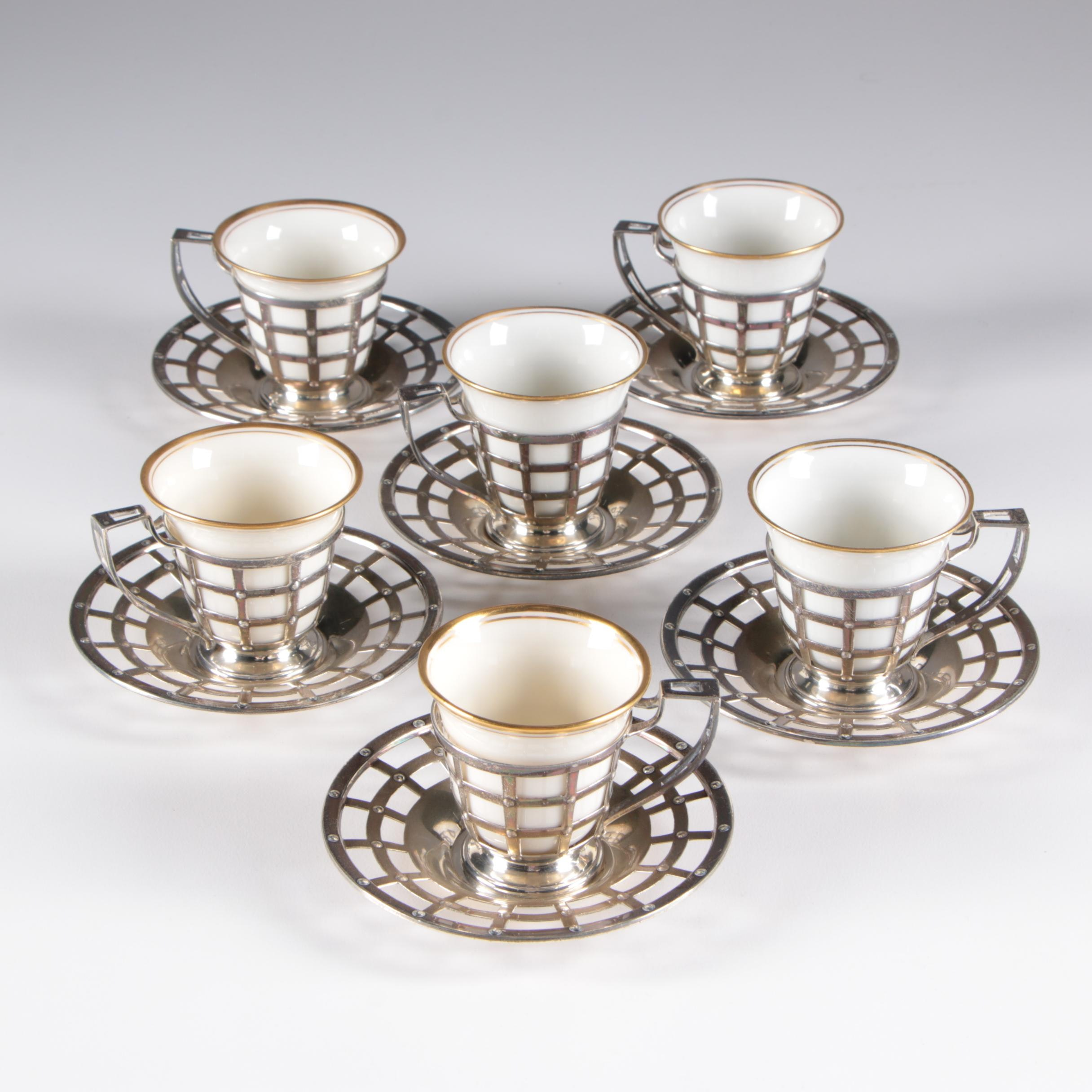 Watson Sterling Silver Demitasse Set with Lenox Inserts, Early 20th Century