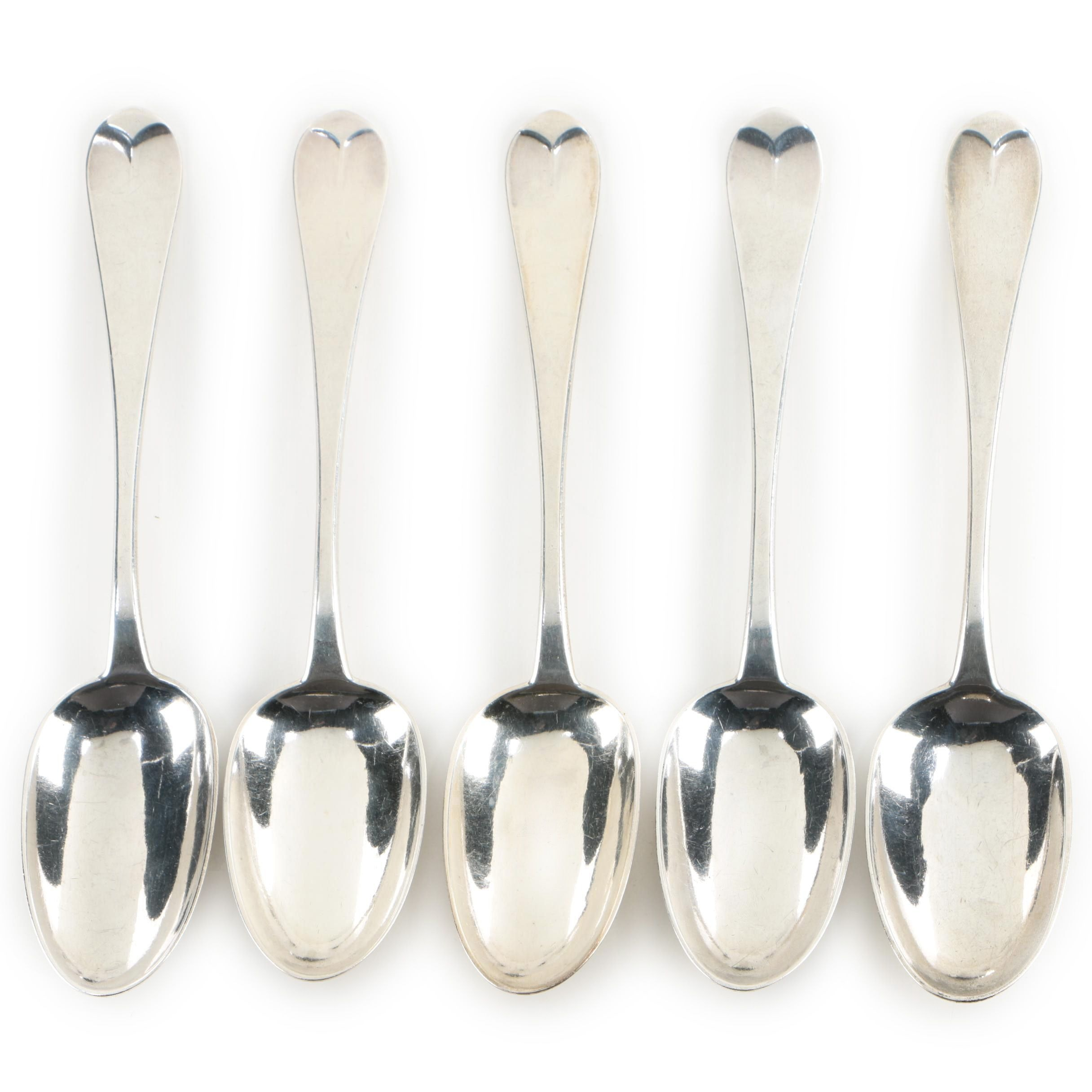Lowell & Senter Portland Coin Silver Serving Spoons, 1830-1870