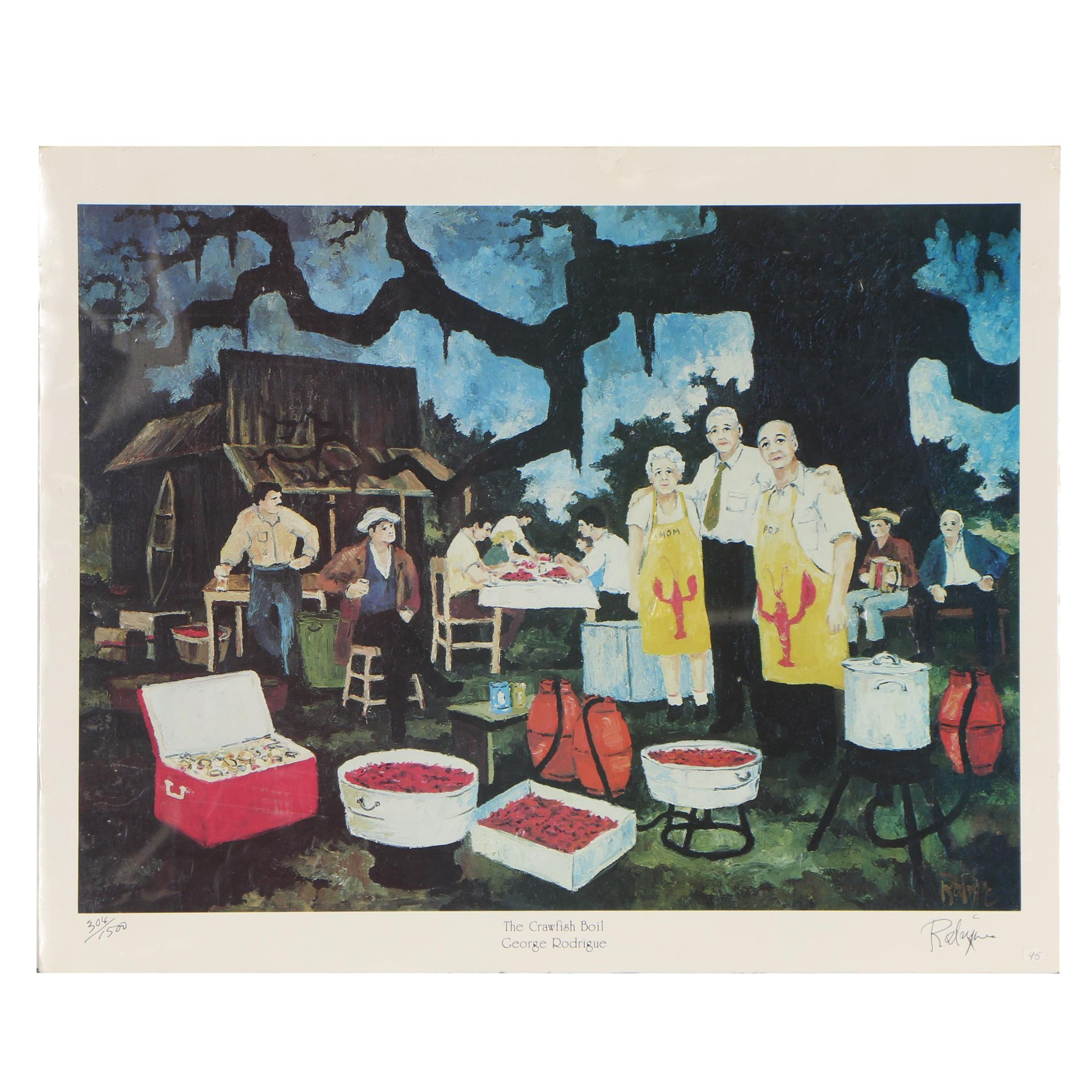 "George Rodrigue Offset Lithograph ""The Crawfish Boil"""