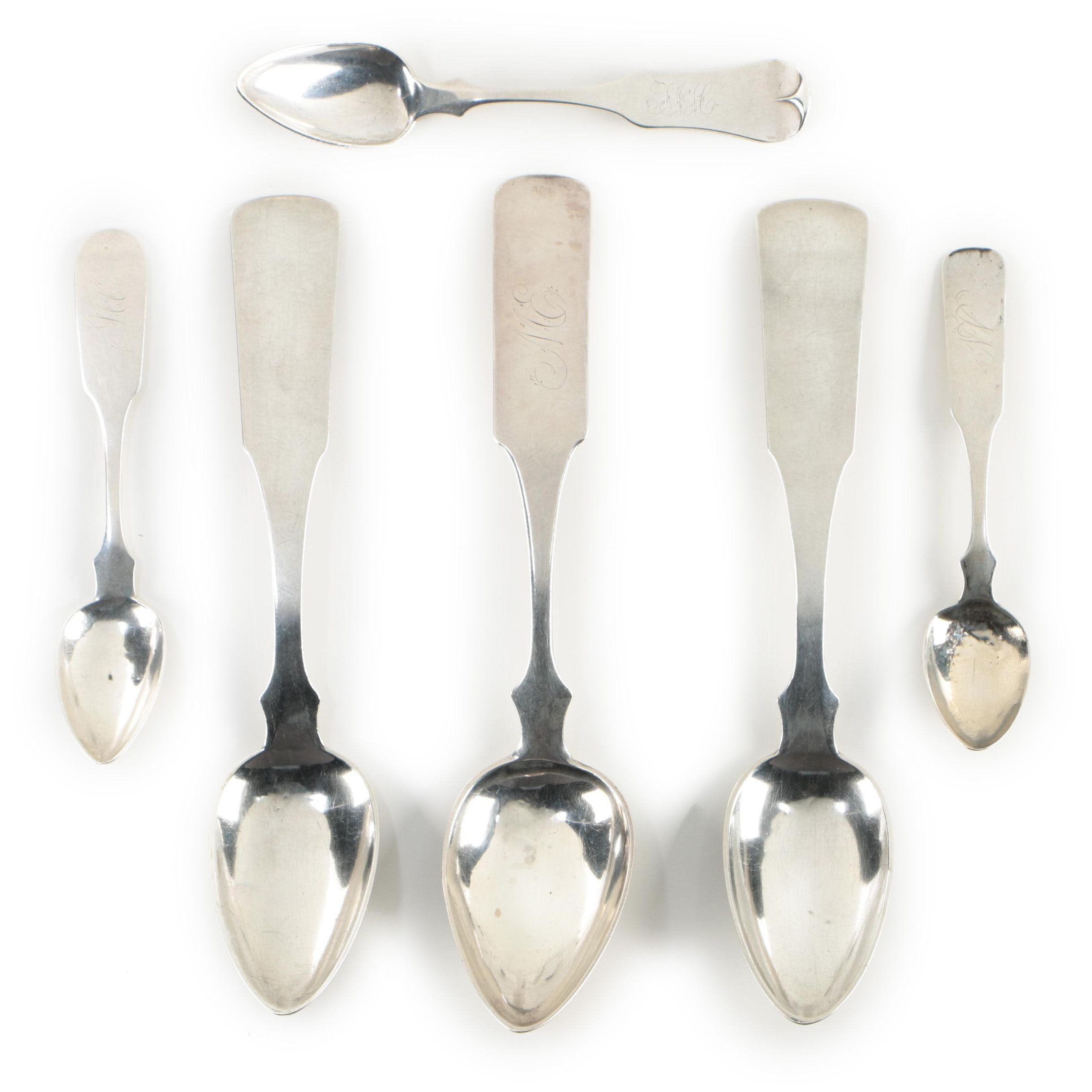 Nathan Lord Hazen Cincinnati Coin Silver Teaspoons and Serving Spoons, 1831-1851