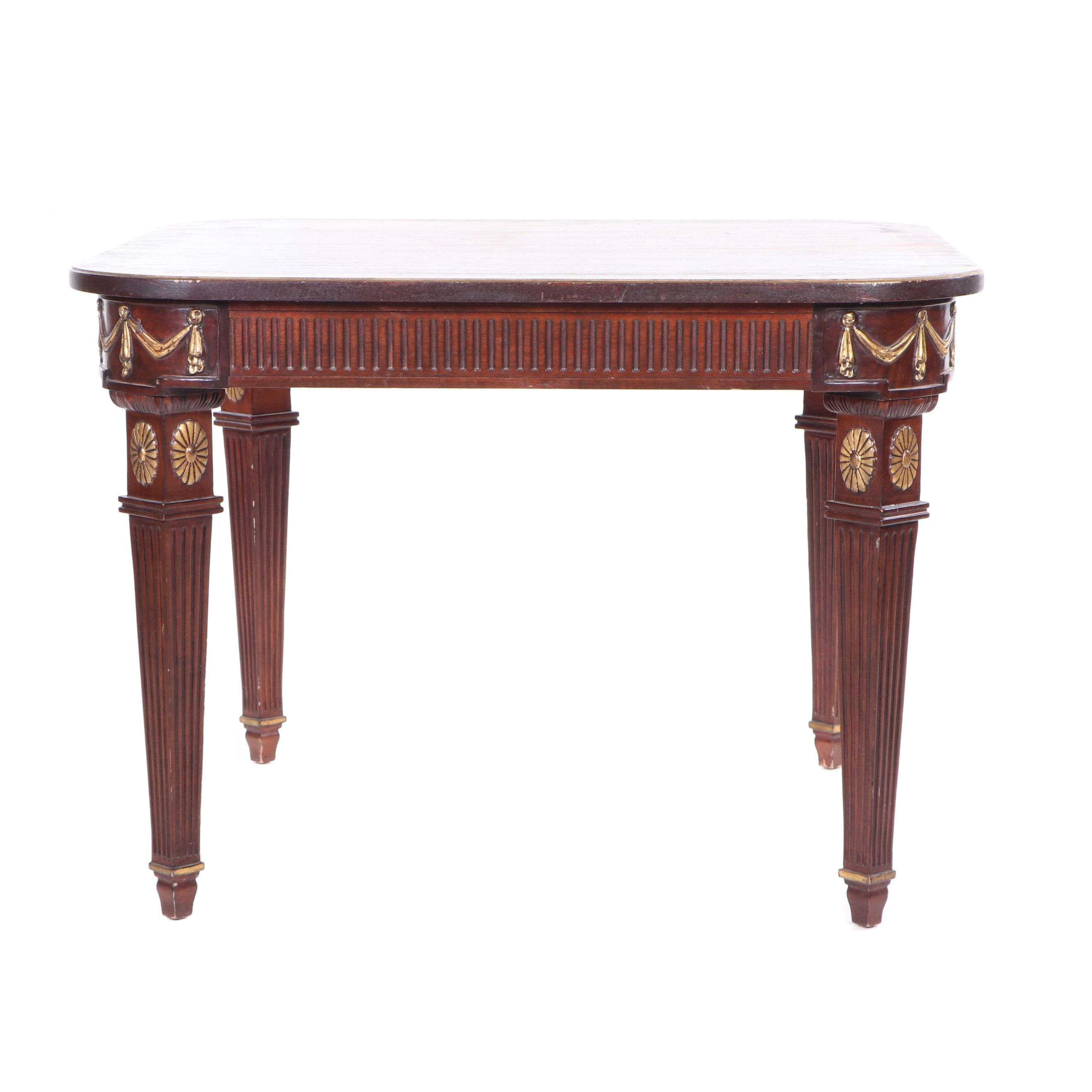 Neoclassical Style Fluted Mahogany Game Table with Gilt Detailing