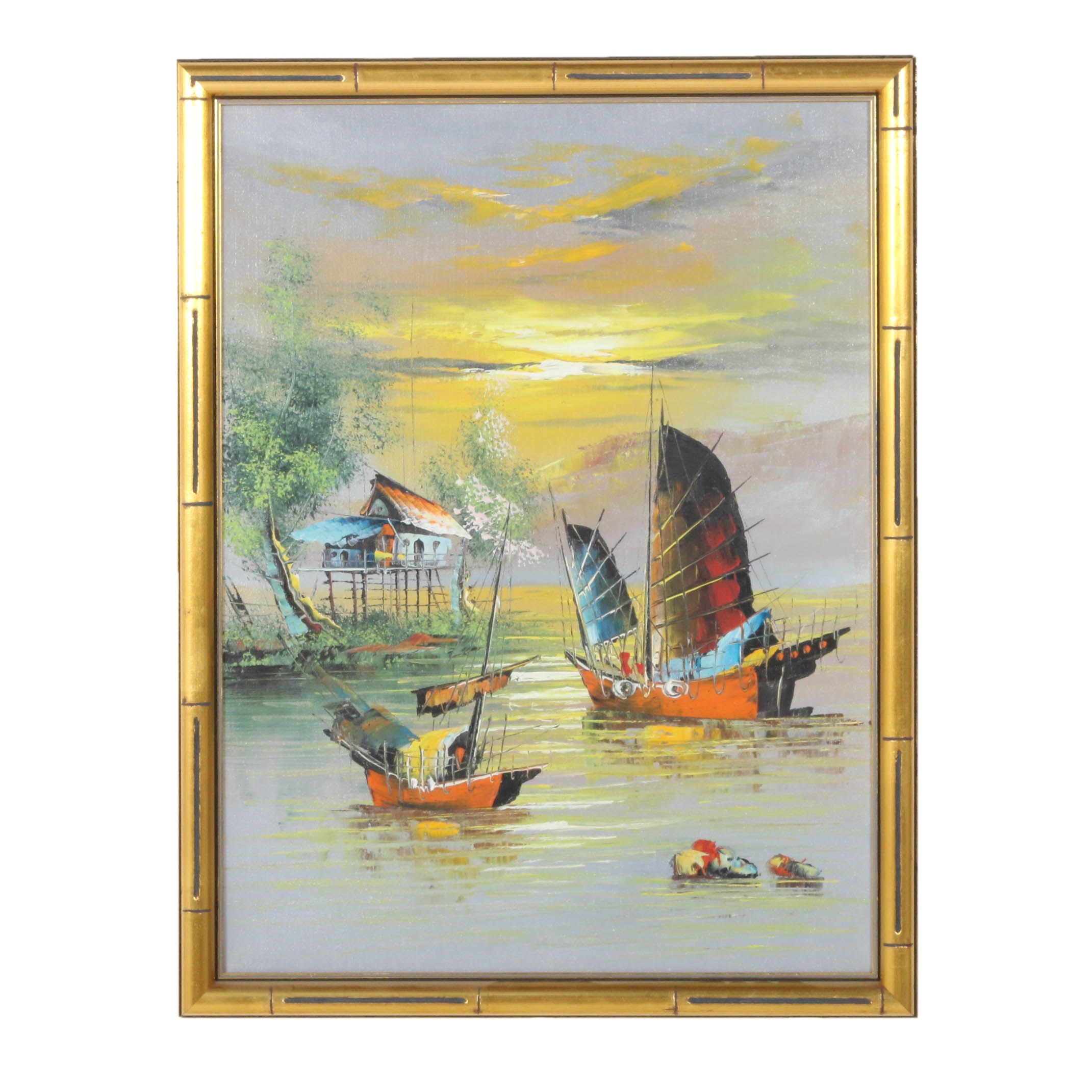 Late 20th Century Chinese Style Oil Painting