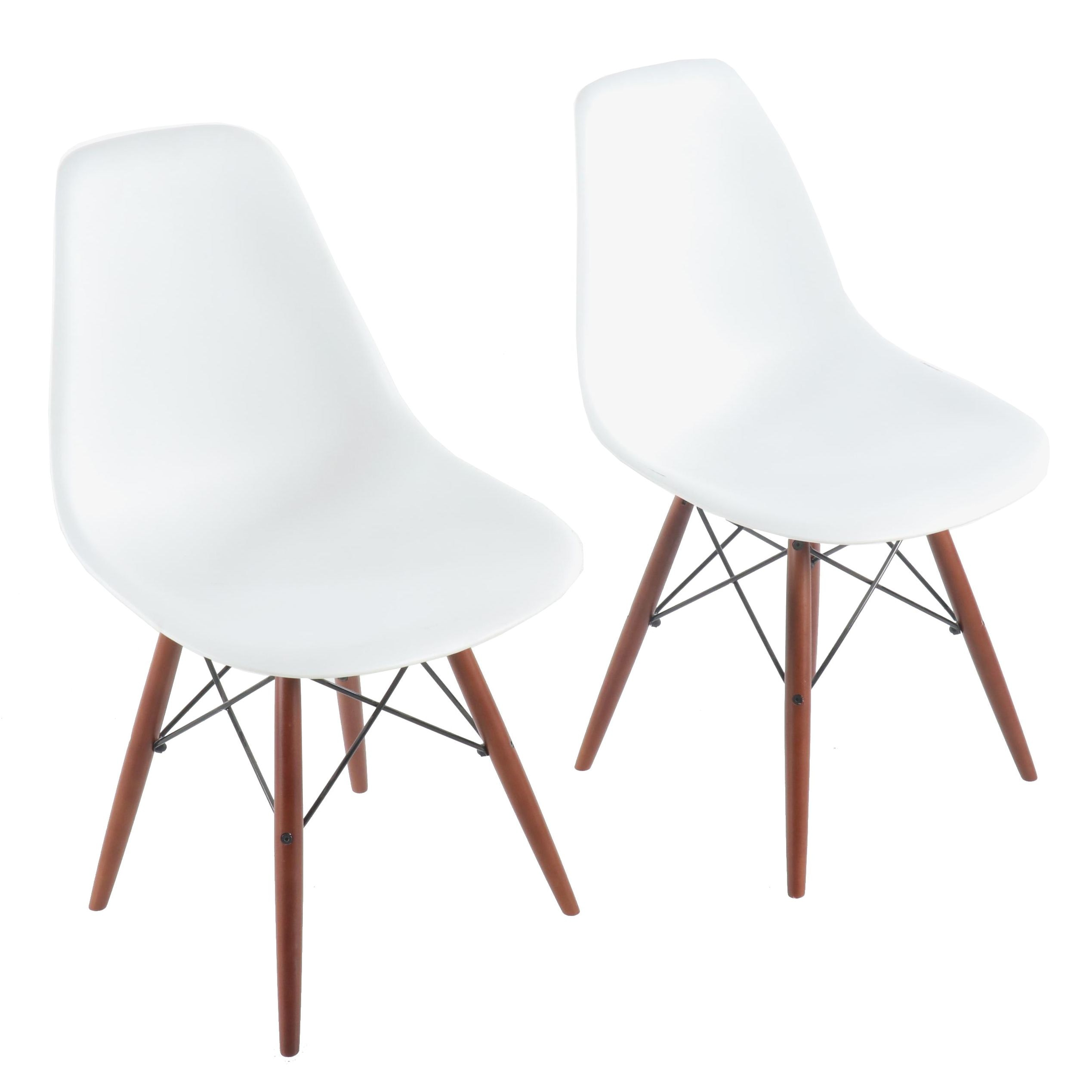 Eames Style Molded Plastic Dowel-Leg Side Chairs