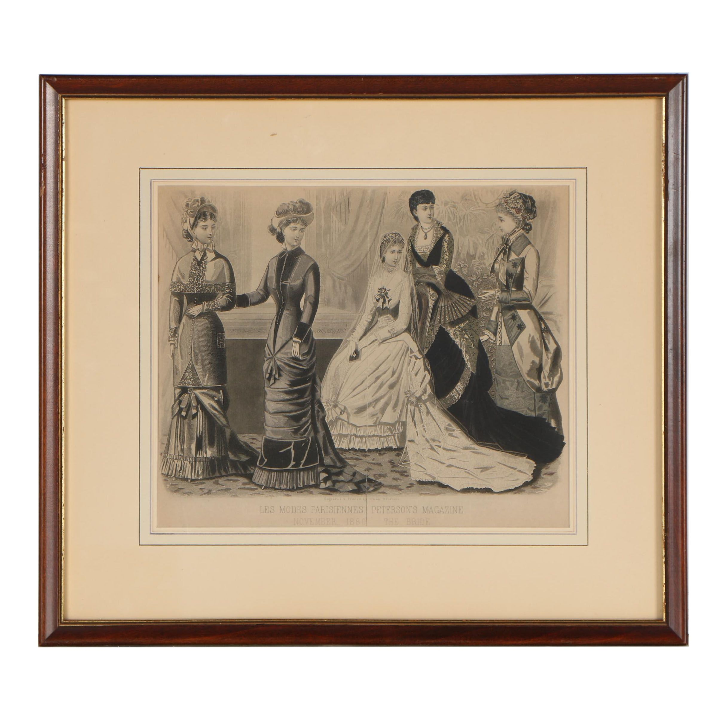 """Illman Brothers Hand-Colored Engraving """"Les Modes Parisiennes: The Bride"""""""