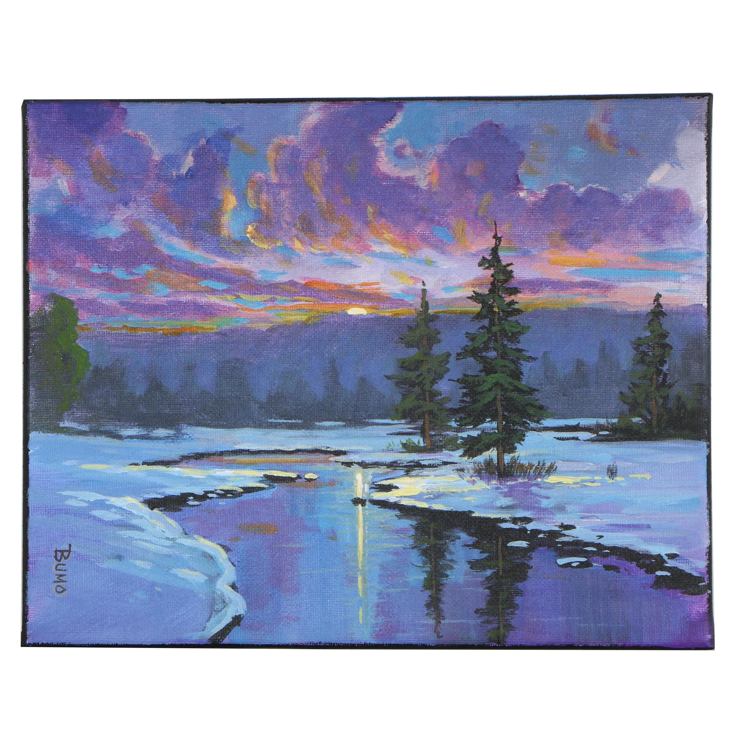 "Douglas ""Bumo"" Johnpeer Oil Painting ""Melting Snow"", 2019"