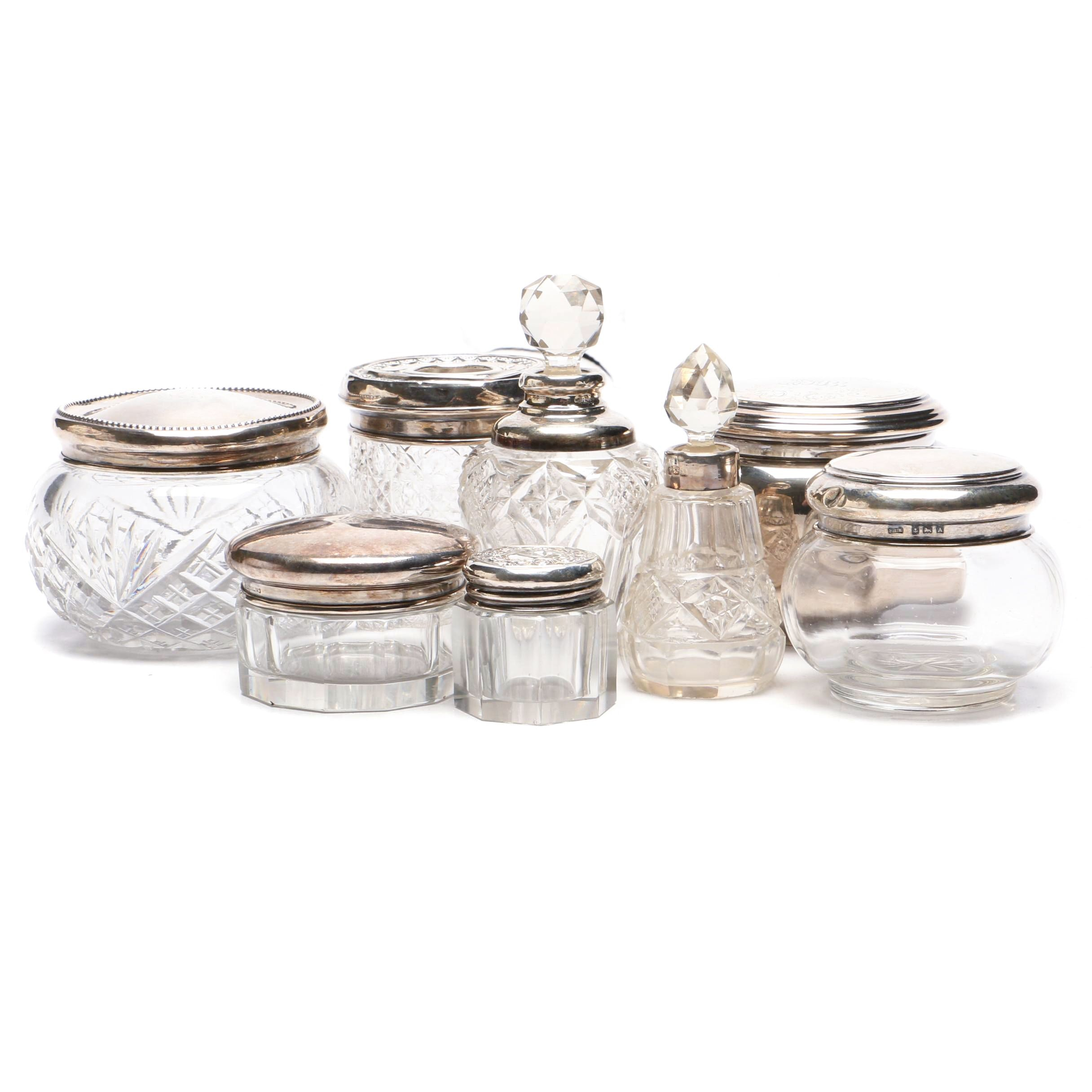 Theodore B. Starr Sterling Silver Puff Jar and Vanity Group, Early 20th Century
