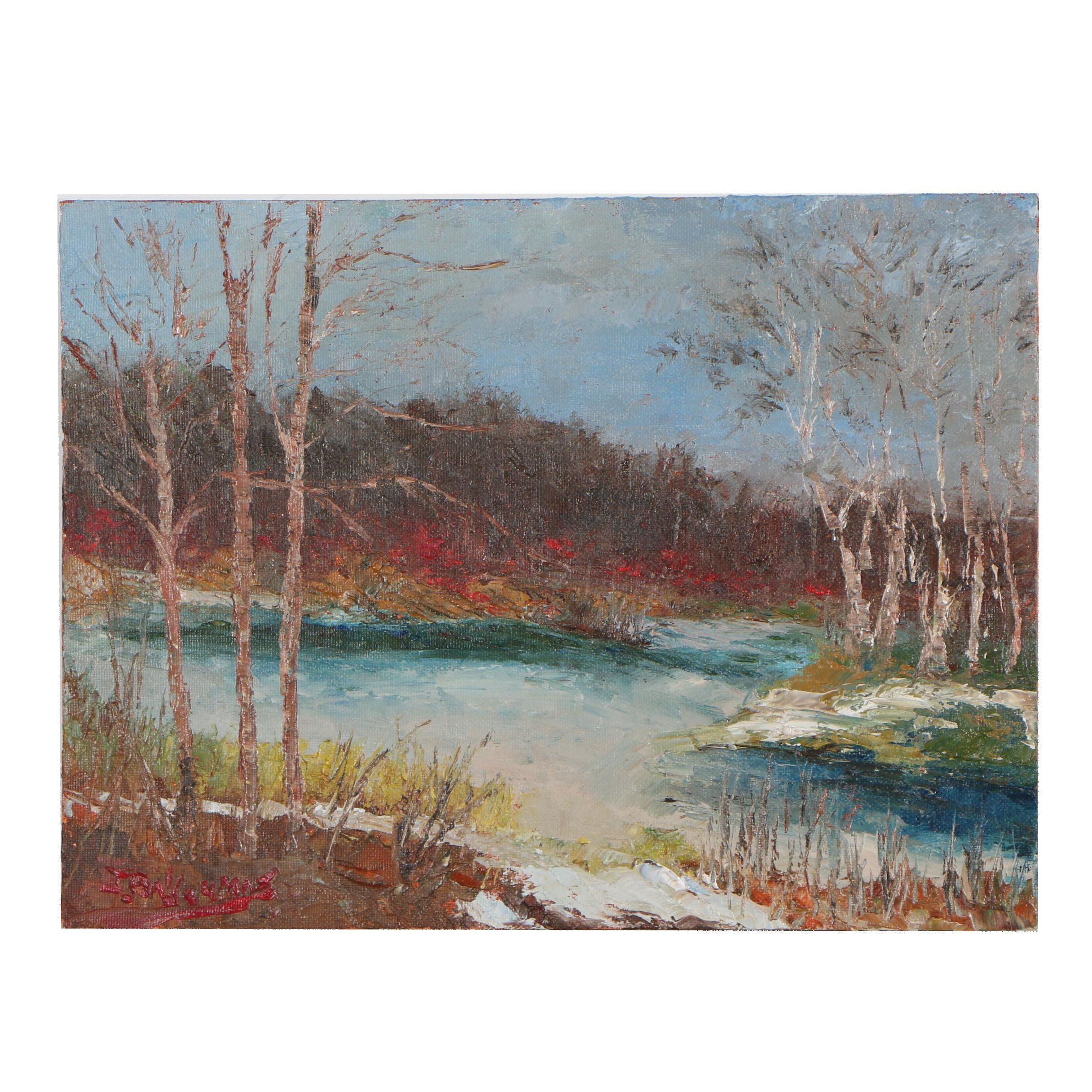"James Baldoumas Oil Painting ""Frozen Pond"""
