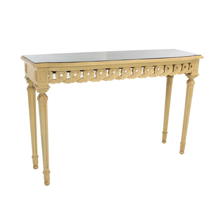 Wondrous Contemporary Louis Xvi Style Cream Painted Console Table With Ebonized Top Onthecornerstone Fun Painted Chair Ideas Images Onthecornerstoneorg
