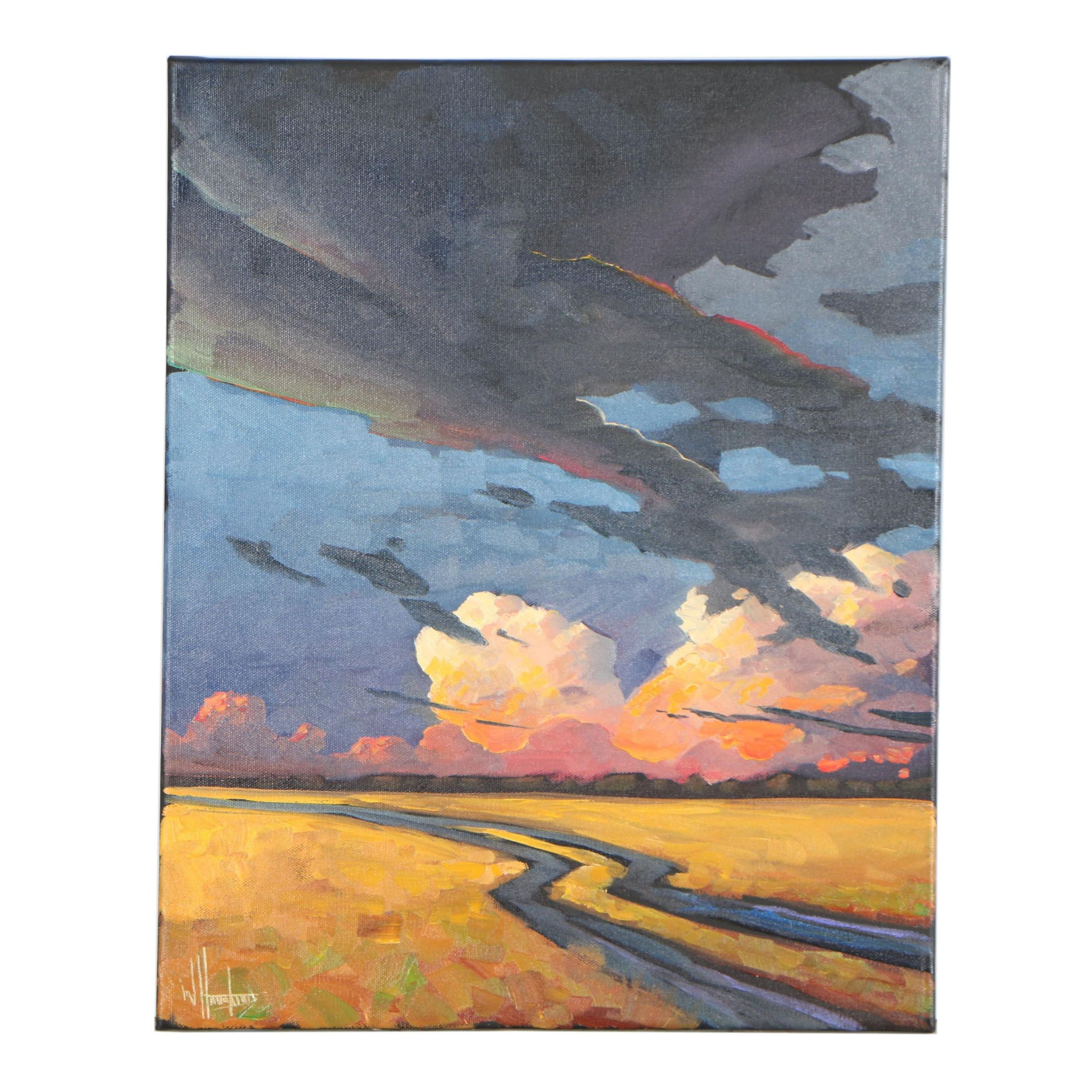 "William Hawkins Oil Painting ""Brewing Storms"""