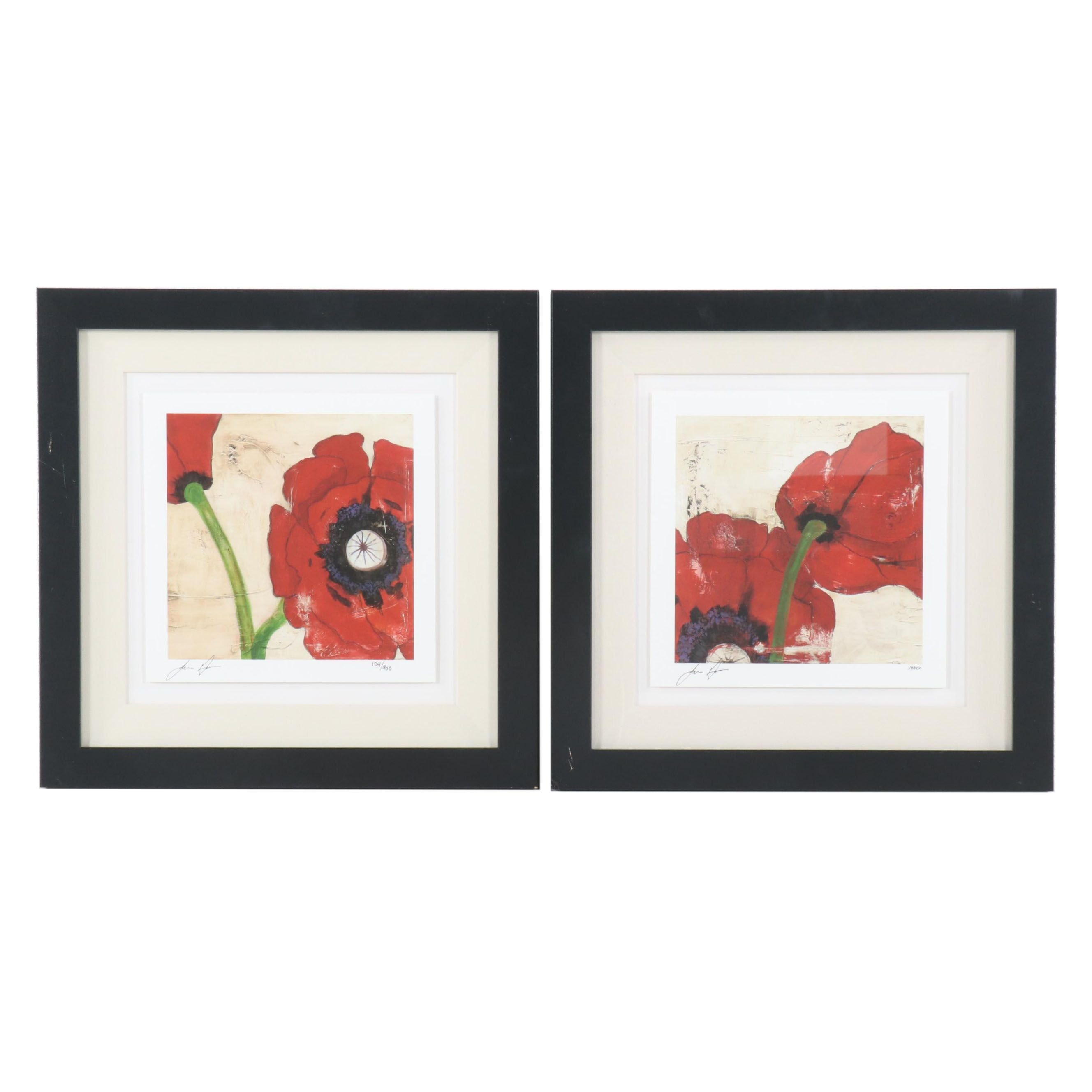 """Laura Gunn Artist Proof Giclées """"Antique Poppies I"""" and """"Antique Poppies III"""""""