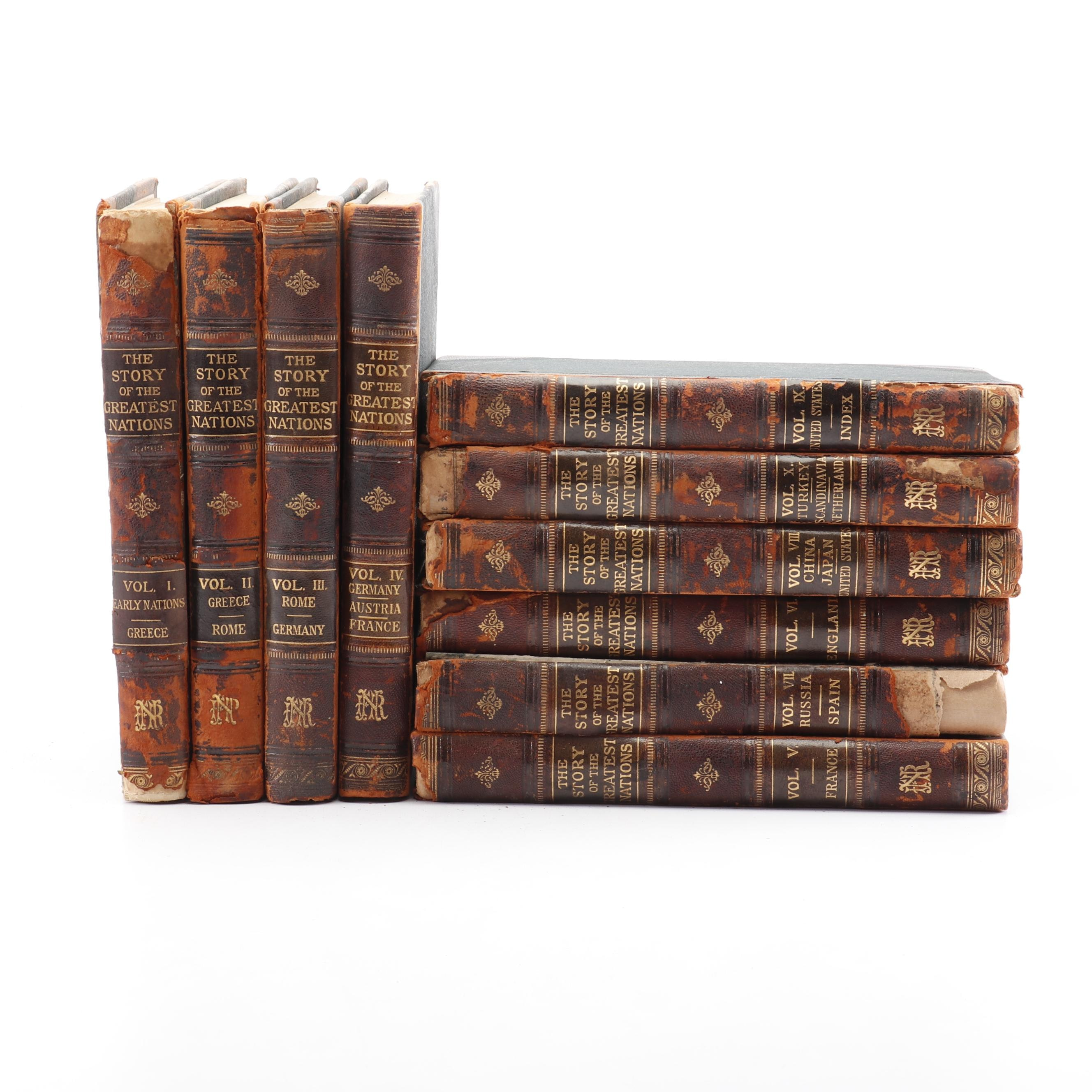"""1906 """"The Story of the Greatest Nations"""" Leather Bound 10 Volume Set"""
