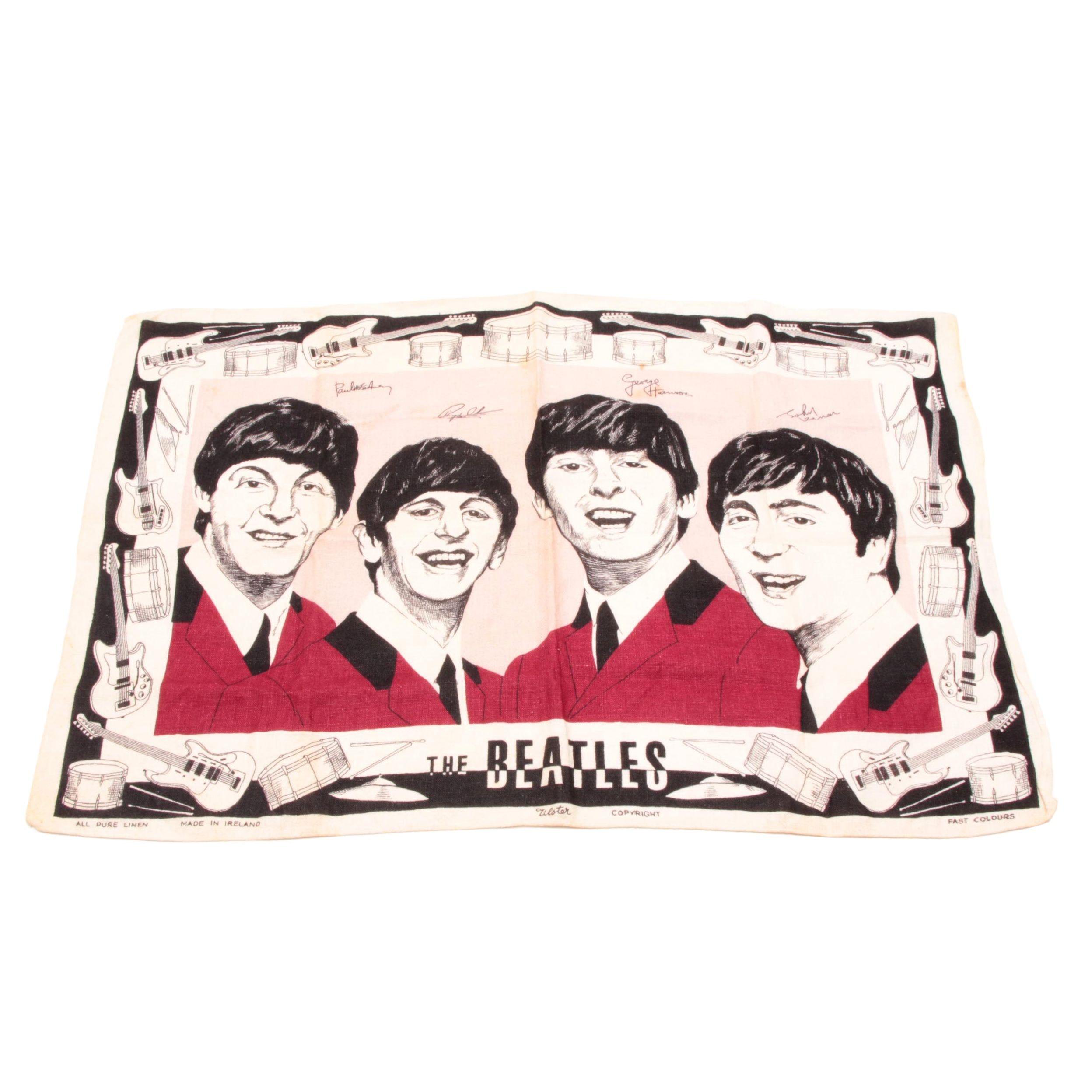 Vintage The Beatles Irish Linen Tea Towel