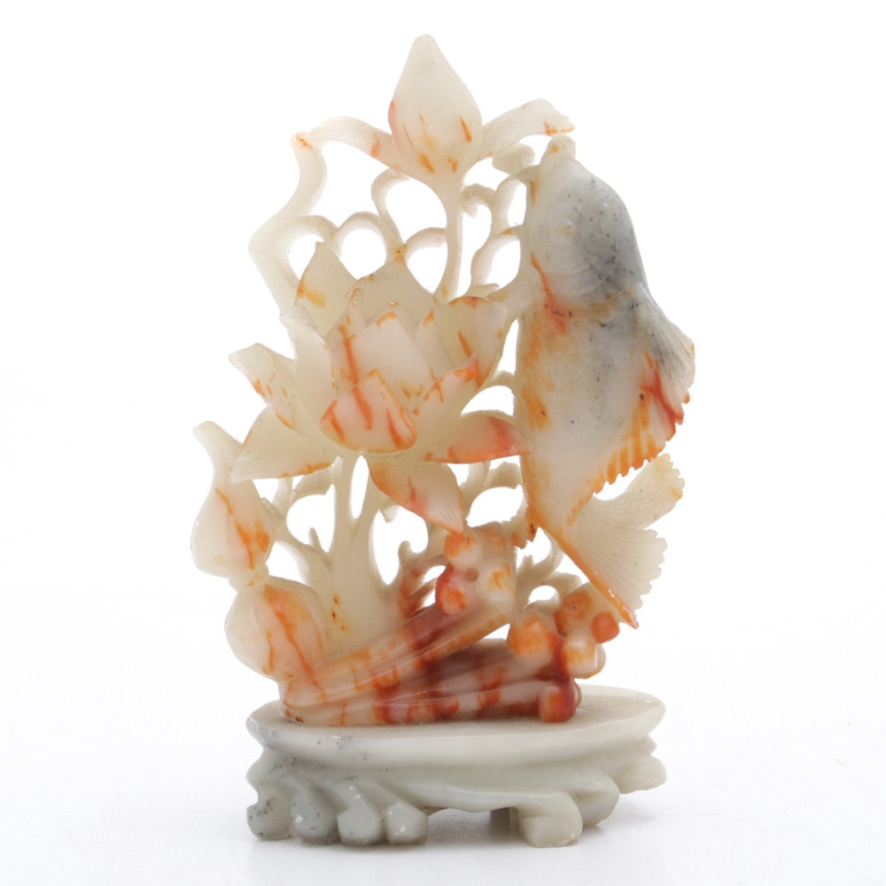 Chinese Carved Agate Stone Flower and Fish Figurine