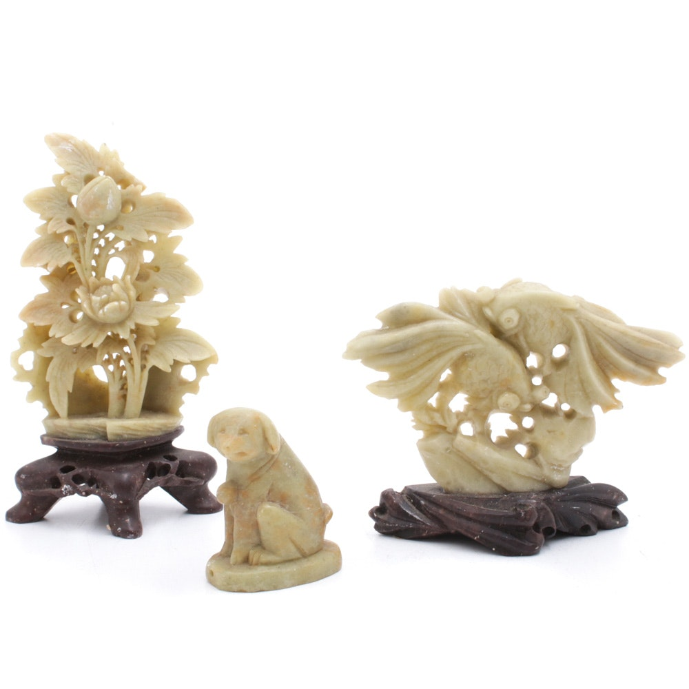 Chinese Carved Fish, Dog and Floral Soapstone Figurines