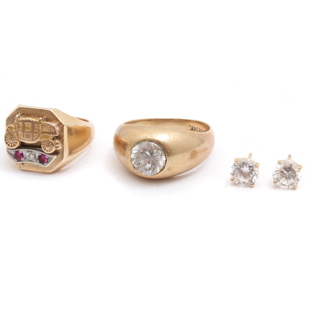14K Yellow Gold Synthetic Ruby and Cubic Zirconia Rings and Earrings