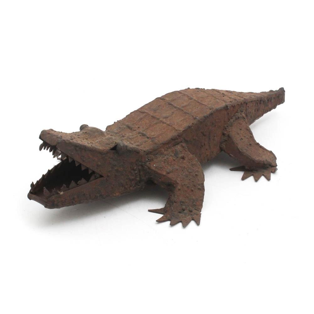Welded Metal Alligator Sculpture