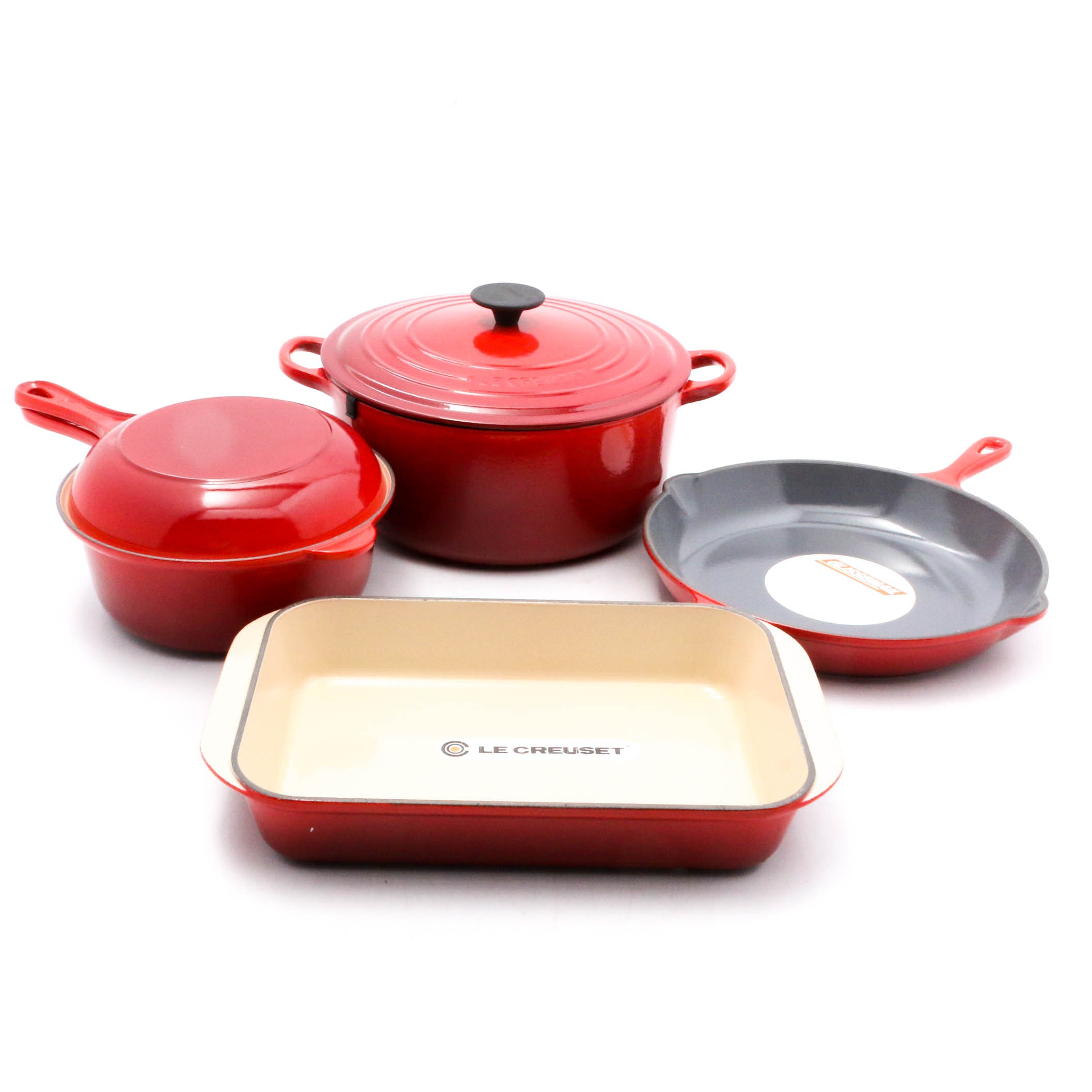 "Le Creuset Enameled Cast Iron Six-Piece Cookware Set in ""Cherry"", Made in France"