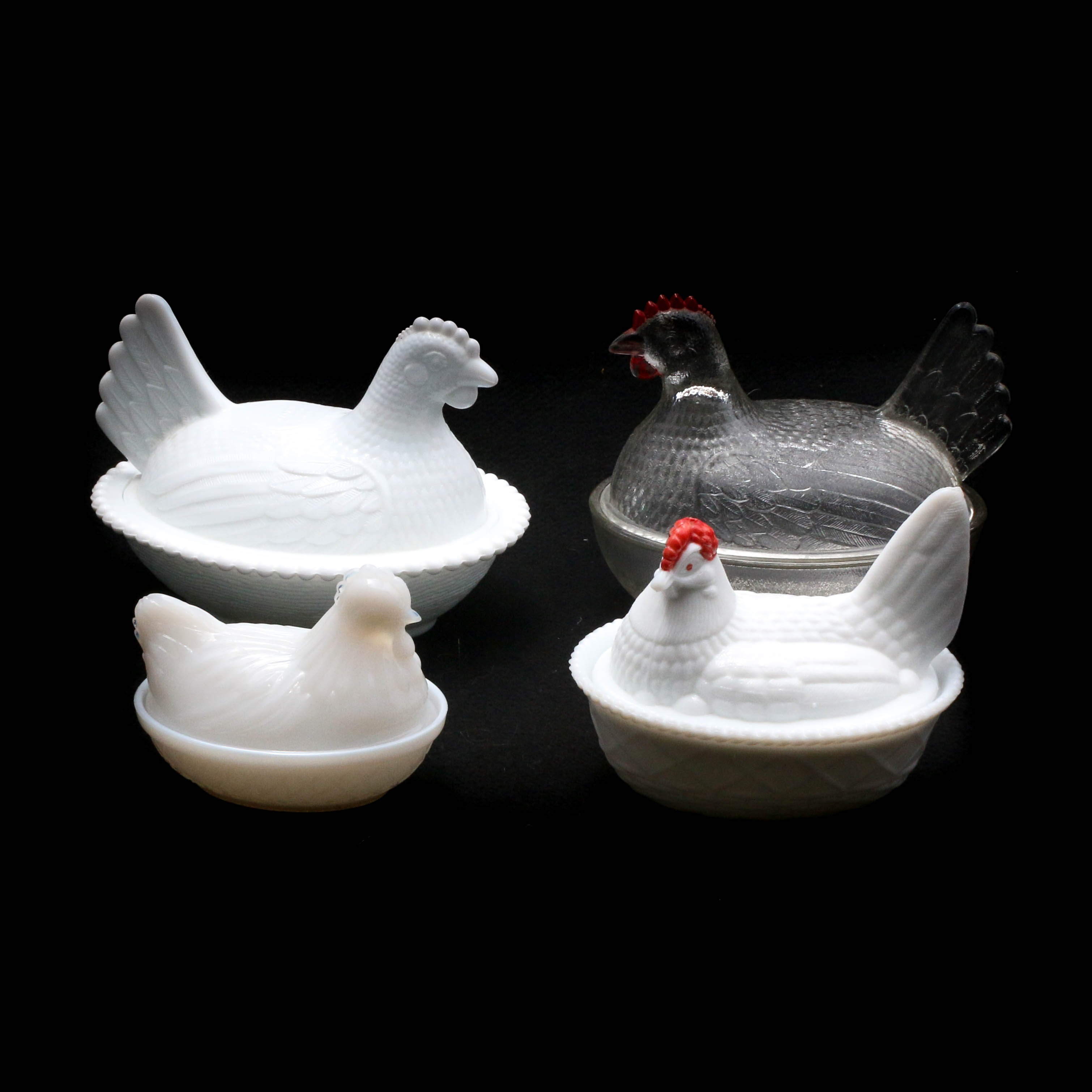 Vintage Milk Glass and Pressed Glass Hen-on-Nest Dishes