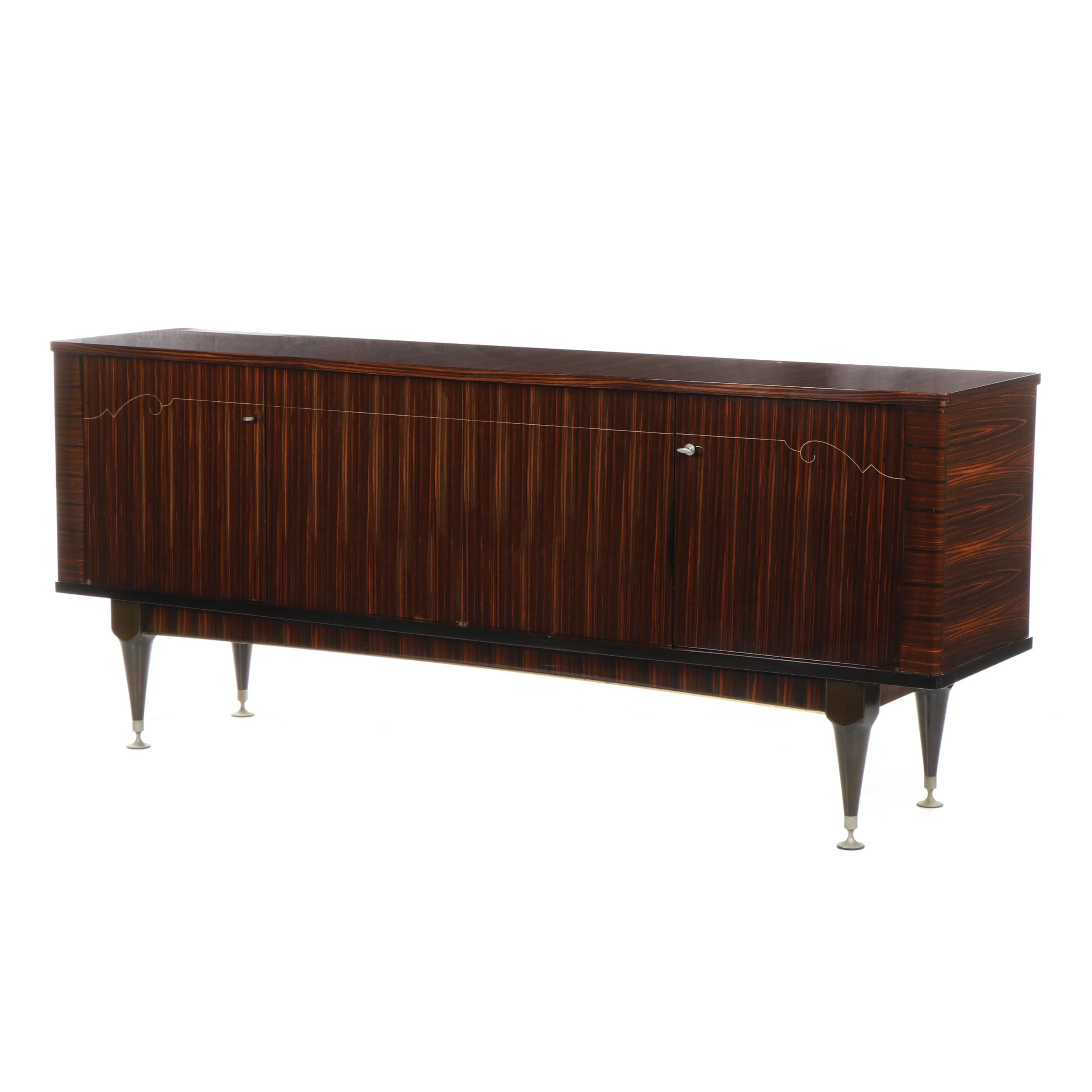 French  Ameublement NF Meuble Macassar Ebony Credenza With Bar Compartment