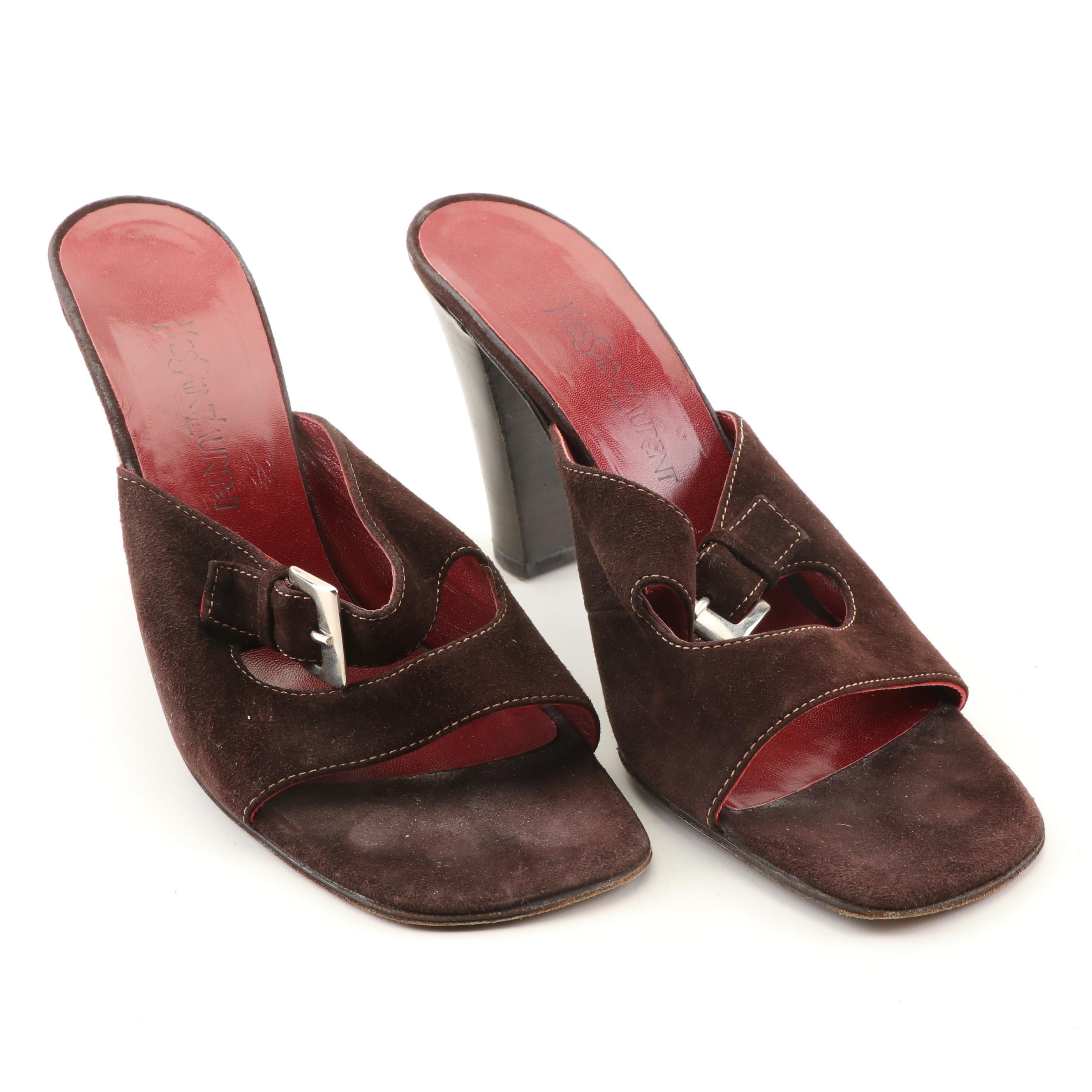 Yves Saint Laurent Suede Slide Sandals