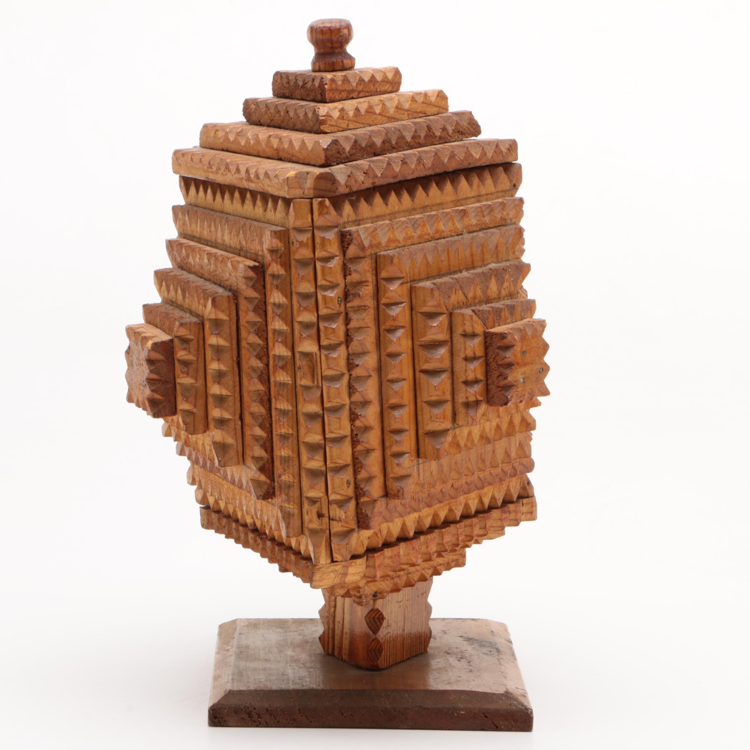 American Tramp Art Wooden Urn, Late 19th/ Early 20th Century