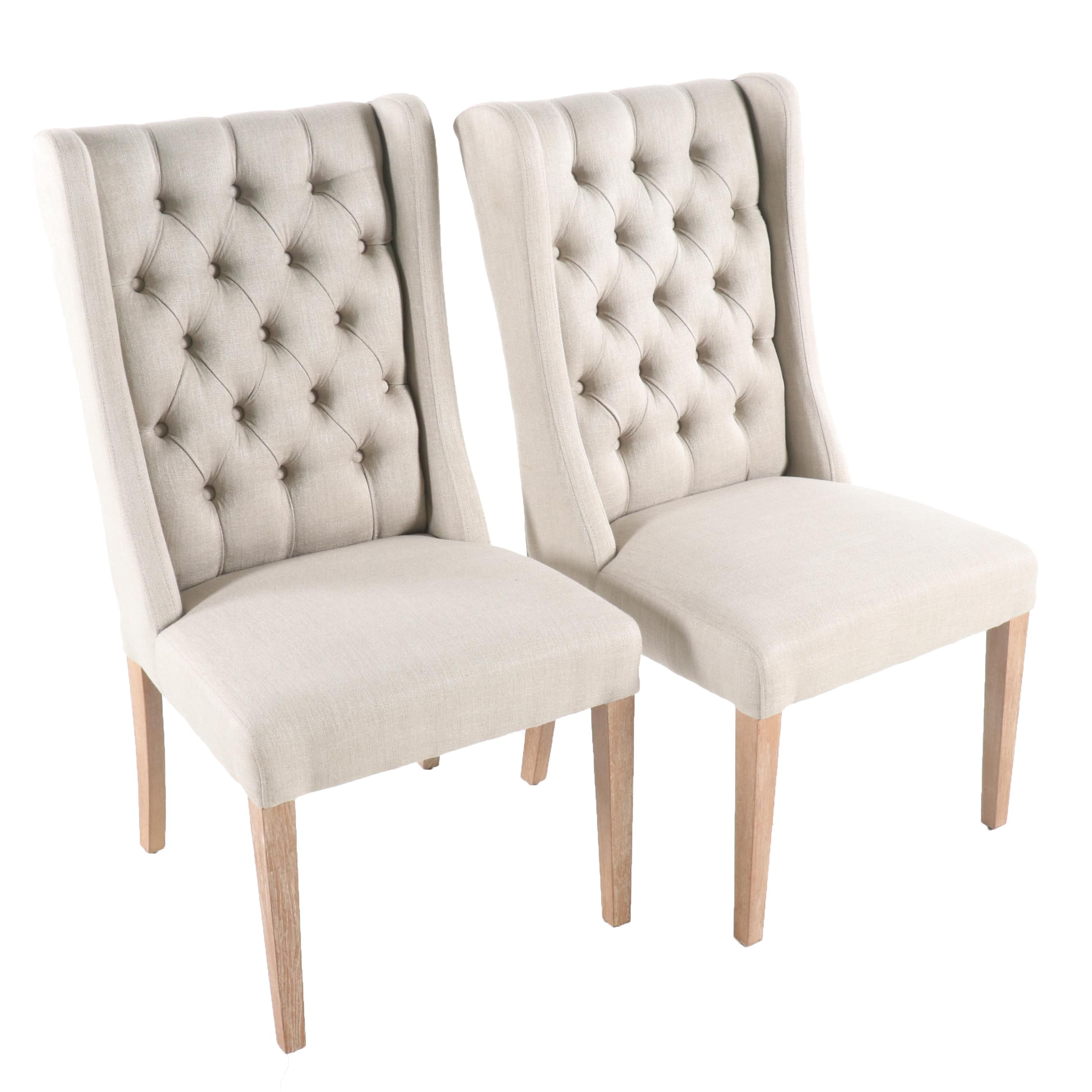 Tufted Wingback Linen Side Chairs, 21st Century